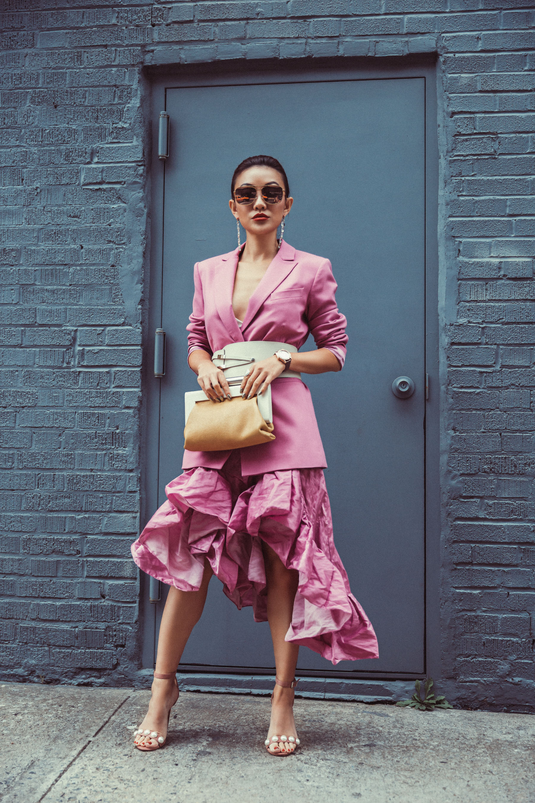 5 SPRING ACCESSORIES EVERYONE WILL BE WEARING SOON // Notjessfashion.com // waist belt, belted blazer, ruffle dress, new york fashion week street style, fashion blogger street style, new york fashion blogger, asian blogger, top blogger