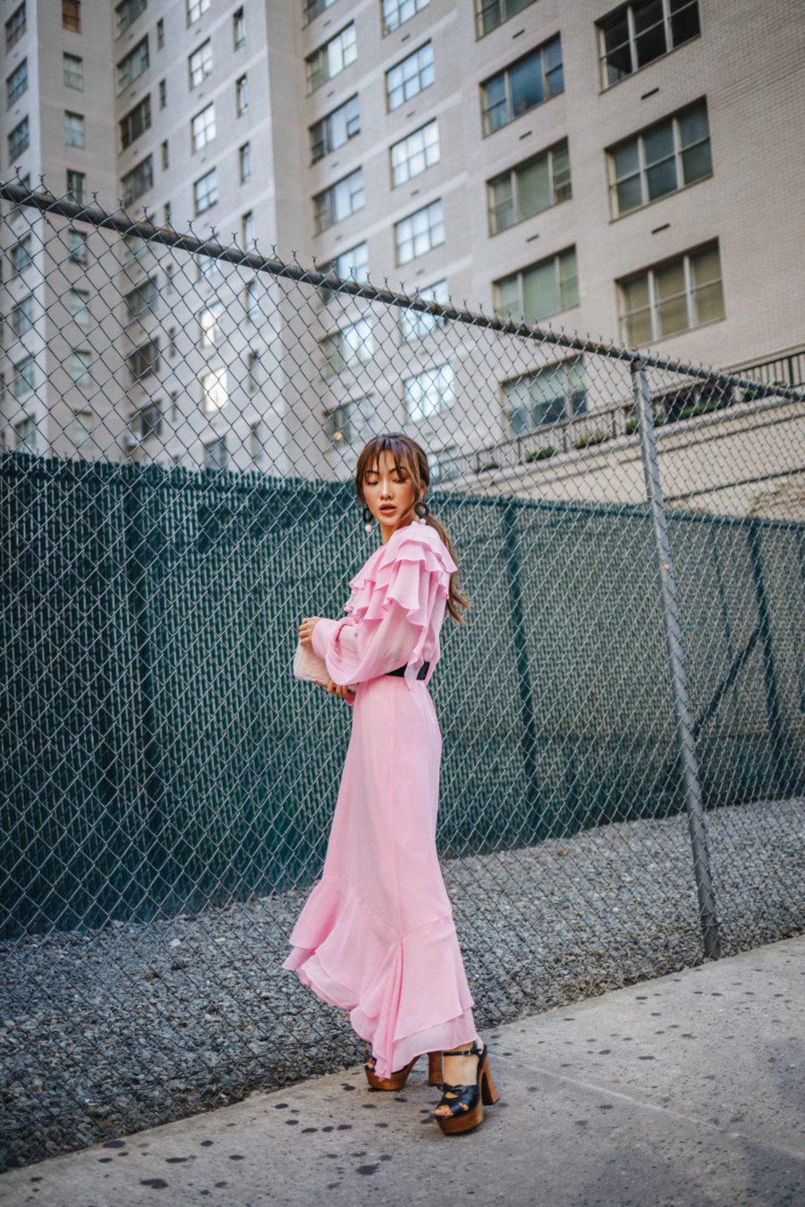 NYFW Day 2 Pink Ruffle Dress Street Style // NotJessFashion.com