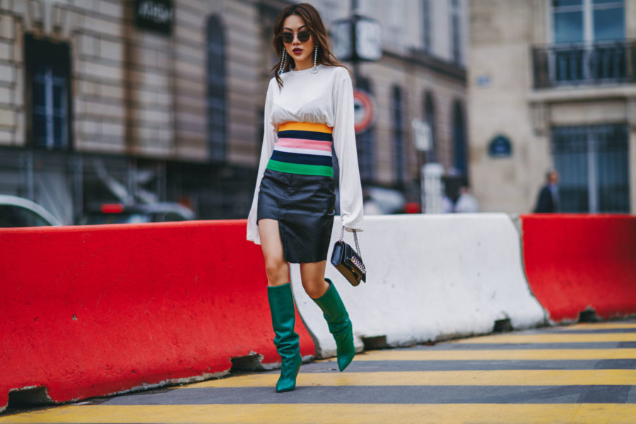 PFW Day 3 Green Leather Boots Street Style// NotJessFashion