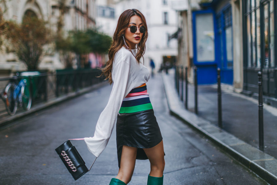 PFW Day 3 Green Leather Boots Outfit // NotJessFashion