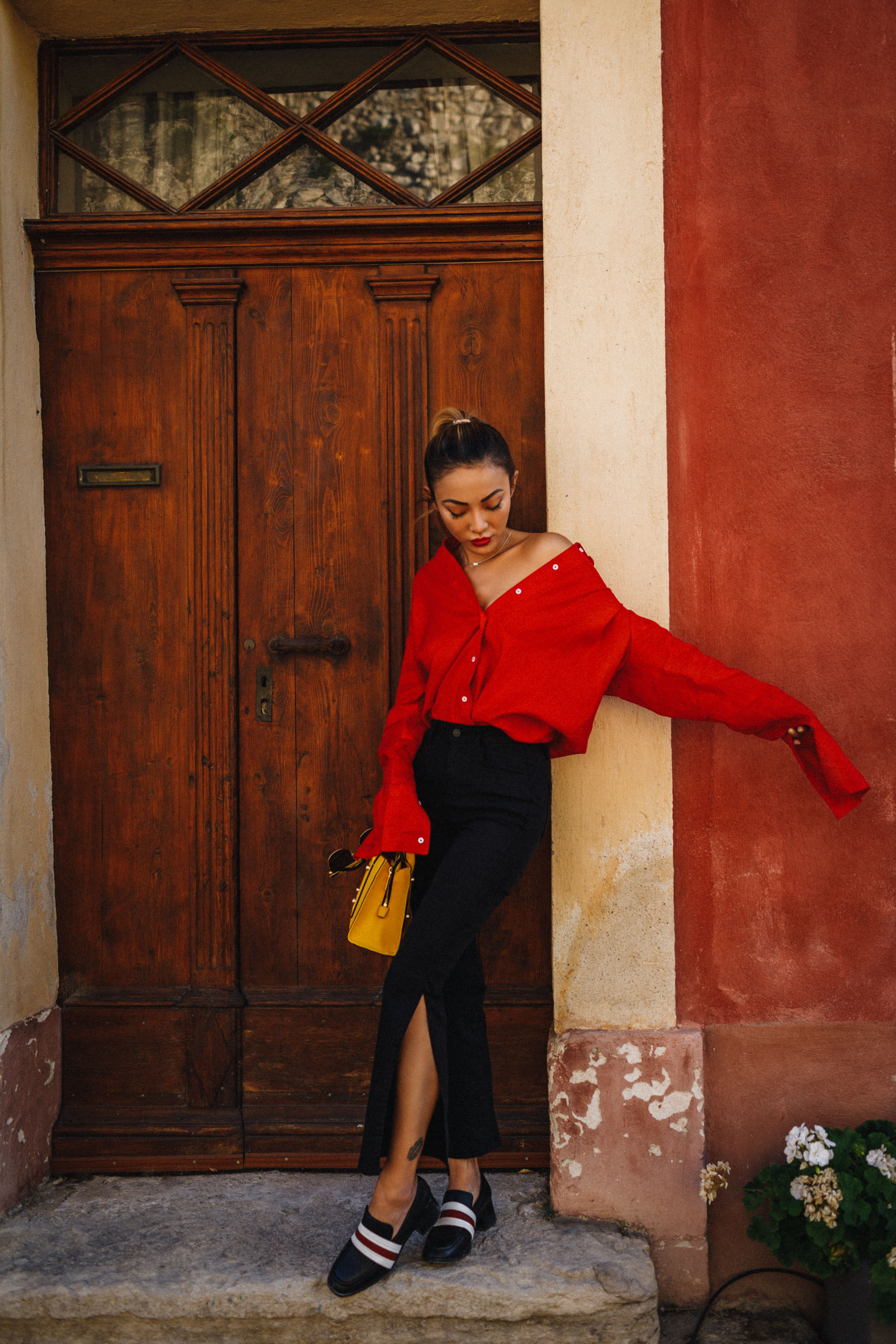 Elevate your everyday outfit with statement color mini bags - red blouse and botkier yellow shoulder bag // NotJessFashion.com