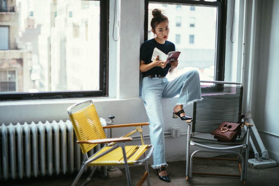 how to make your clothes last longer, Wide Leg Denim Pants Style // NotJessFashion.com