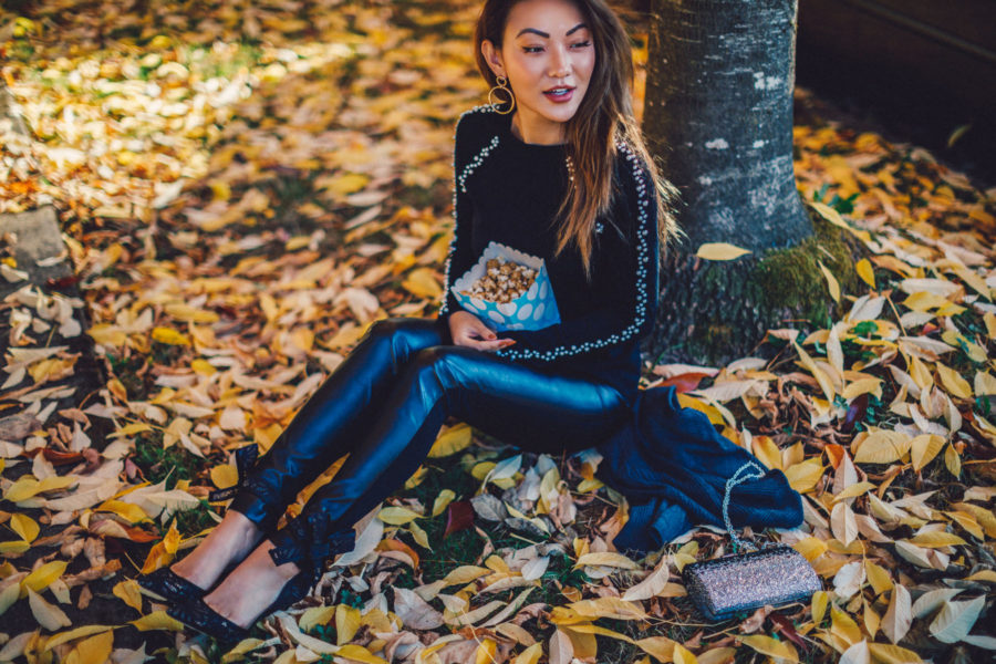 Pearl Studs Leather Leggings Fall Coveted Details // NotJessFashion.com