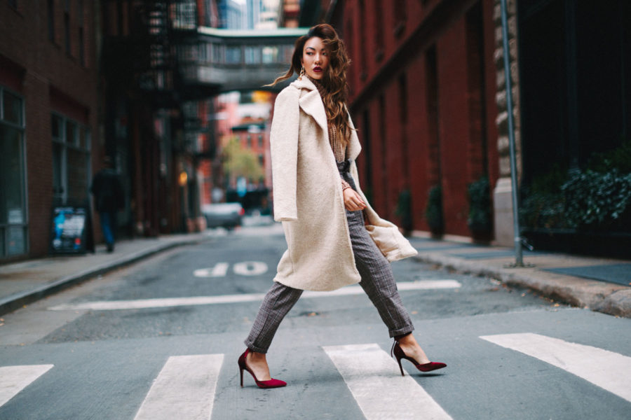 New Ways to Layer for Fall - burgundy heels, plaid pants, and teddy coat // Notjessfashion.com