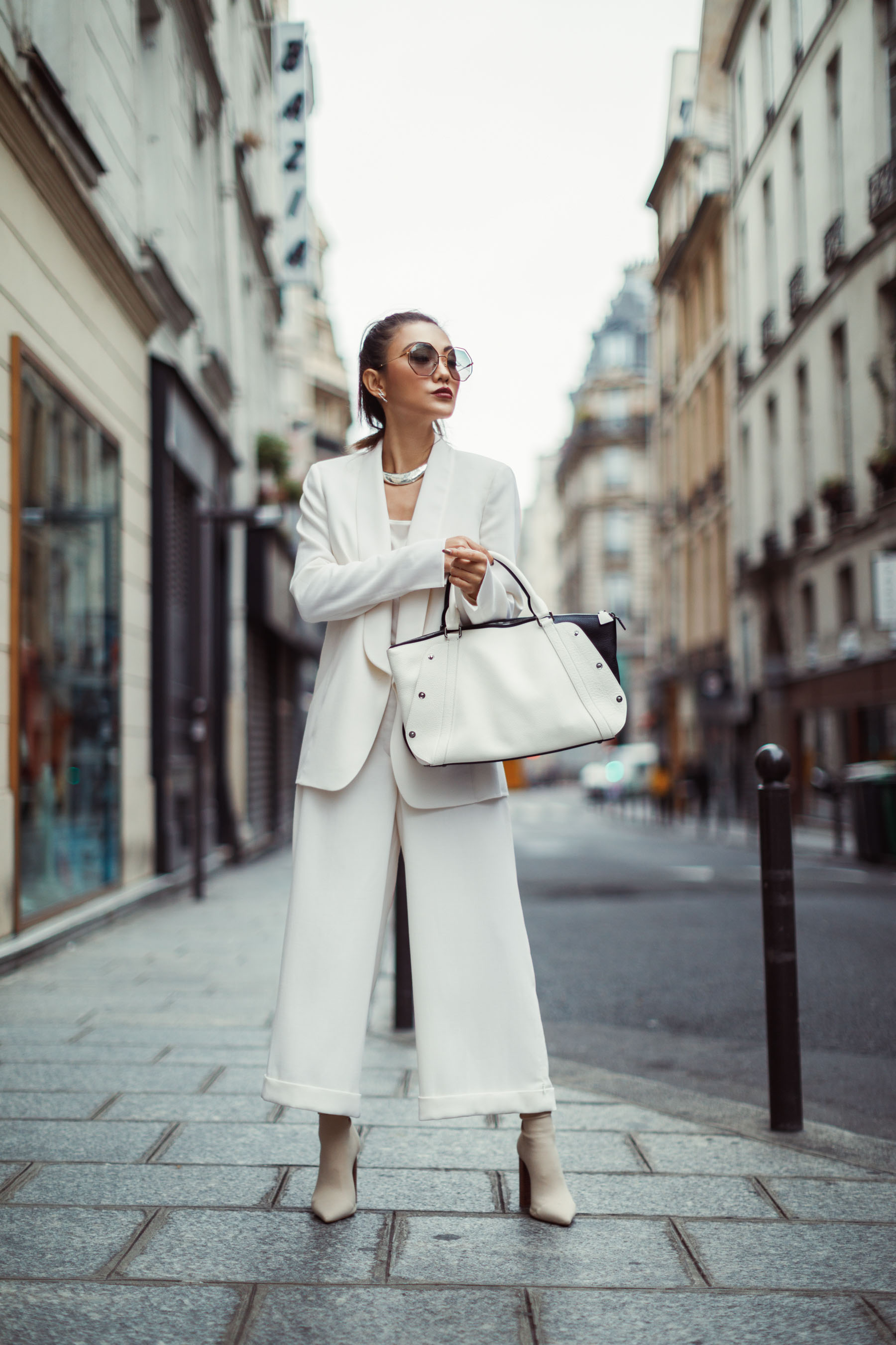 All White Akris Suit with Culottes and Blazer // Notjessfashion.com