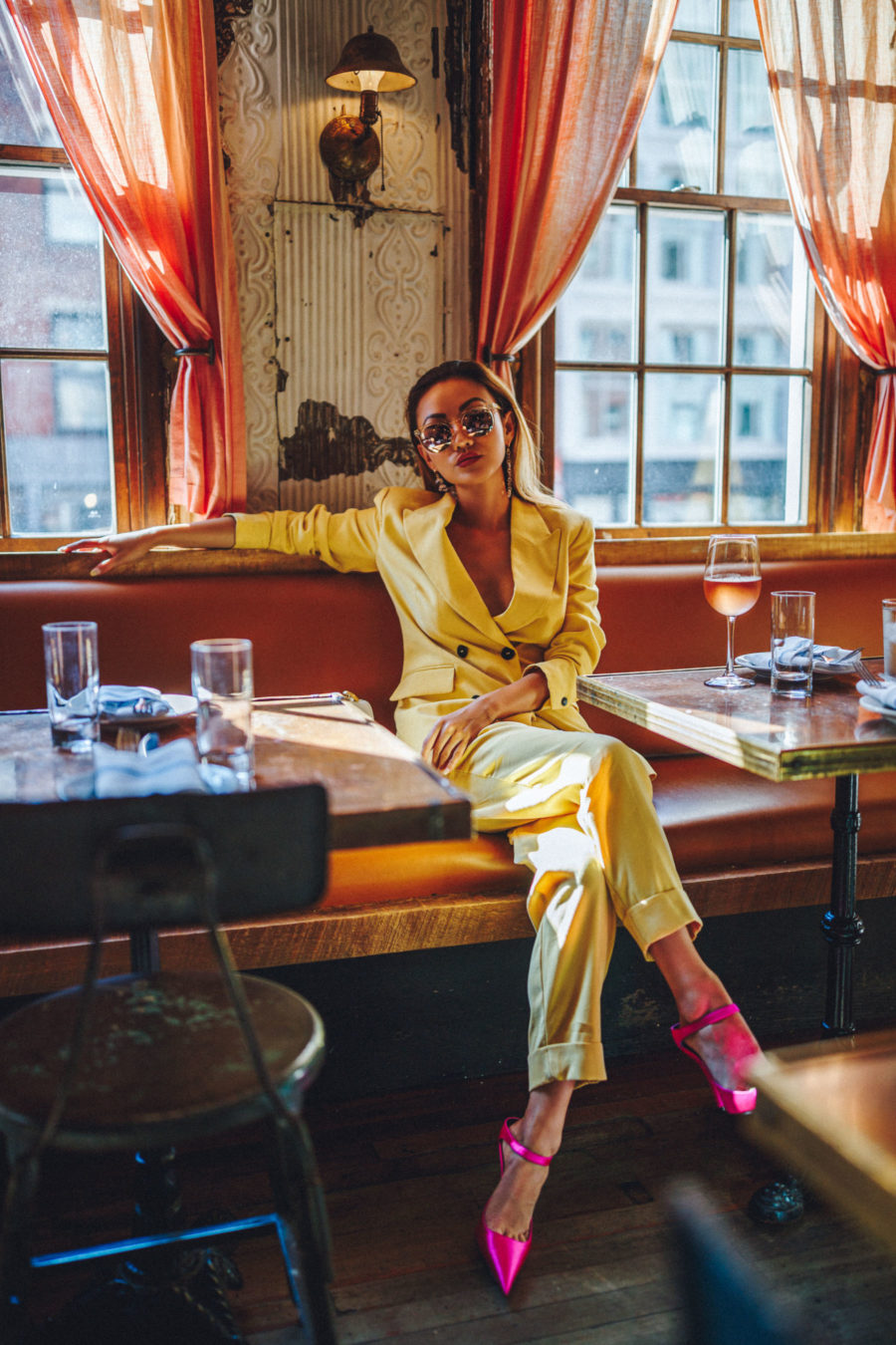 cute spring outfits, easter outfit ideas, yellow pantsuit, power suit trend // Notjessfashion.com