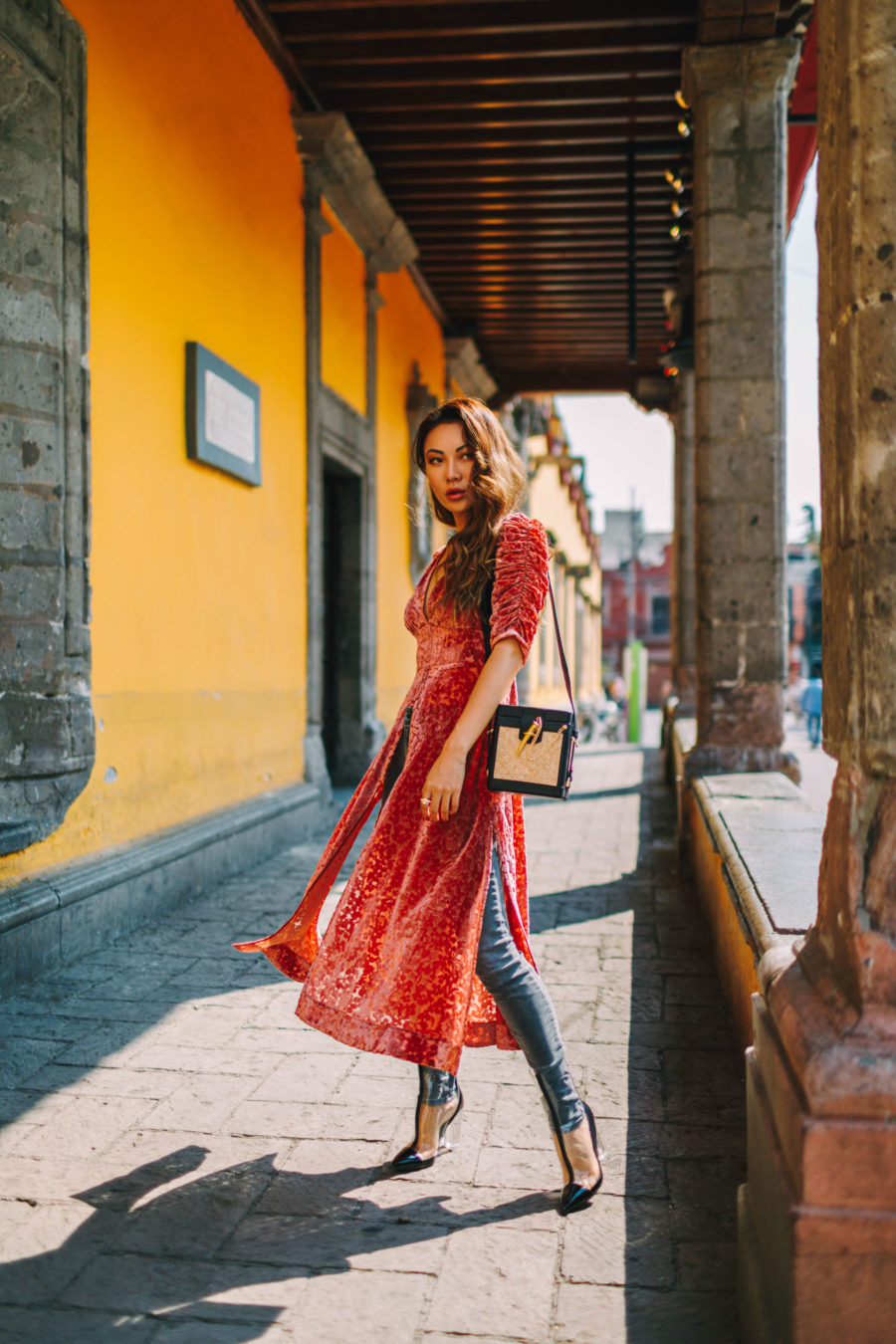Safety Tips When Traveling to Mexico - Pink Velvet Dress Skinny Jeans and Clear Boots // Notjessfashion.com