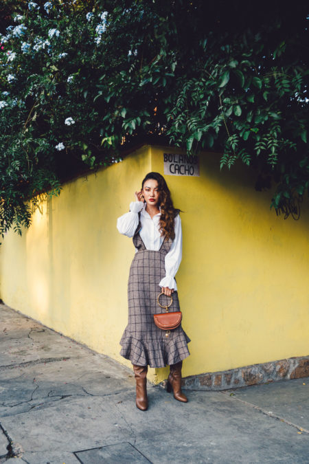 Brown Ruffle Plaid Dress with Ruffle Blouse // Notjessfashion.com
