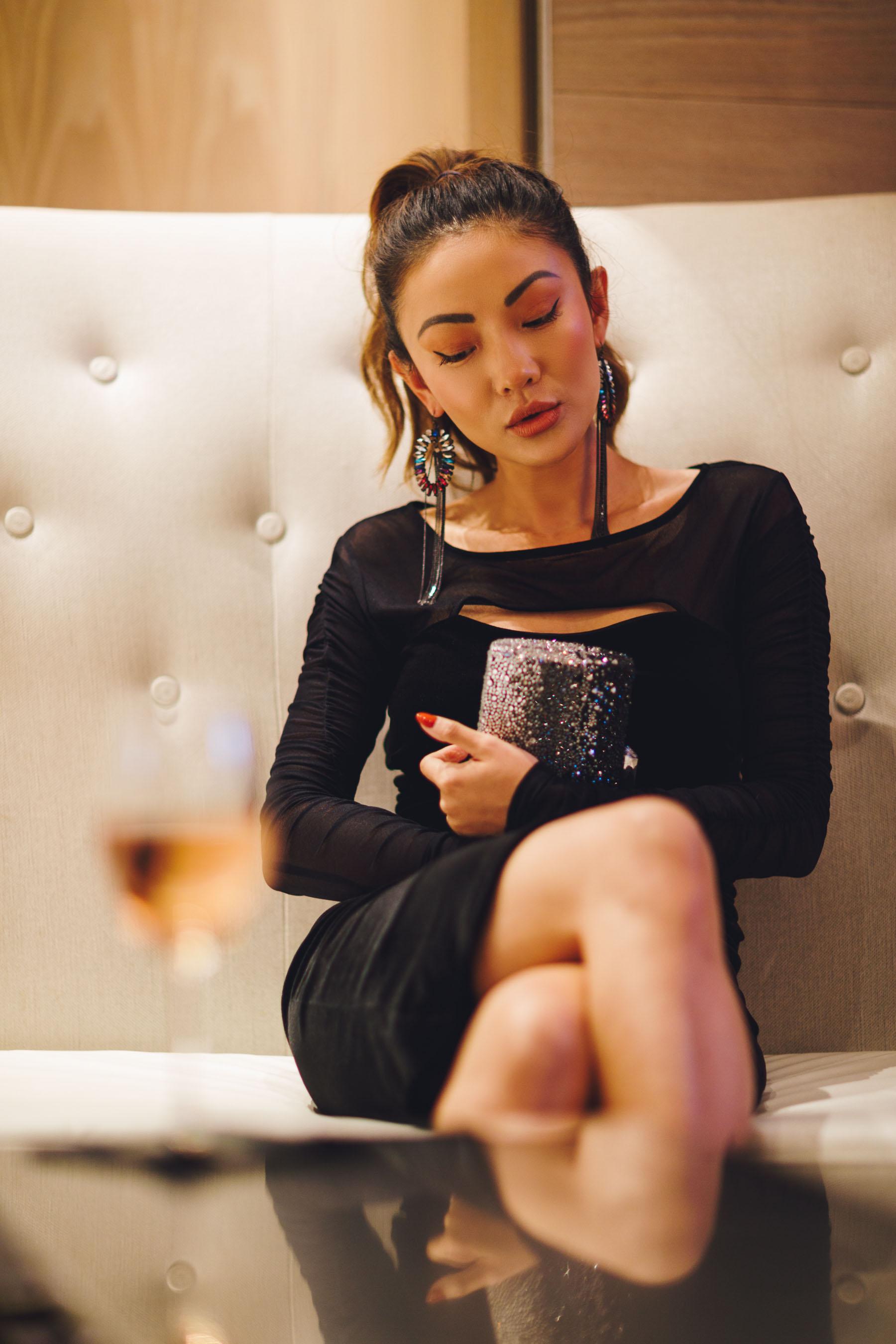 Velvet Little Black Dress with Fringe Statement Earrings // Notjessfashion