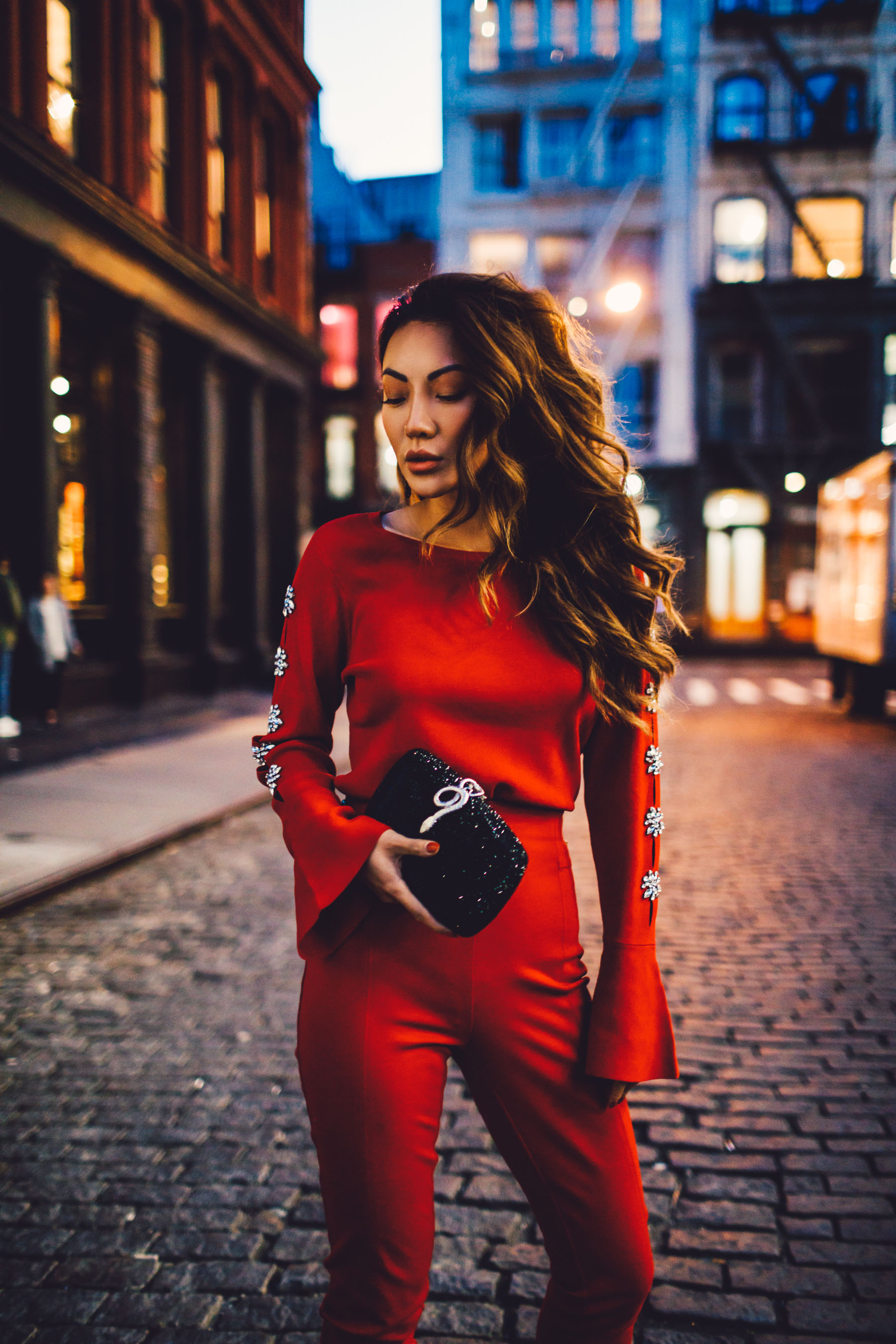 Festive Holiday Look - Red Sweater with Embellished Sleeves // Notjessfashion