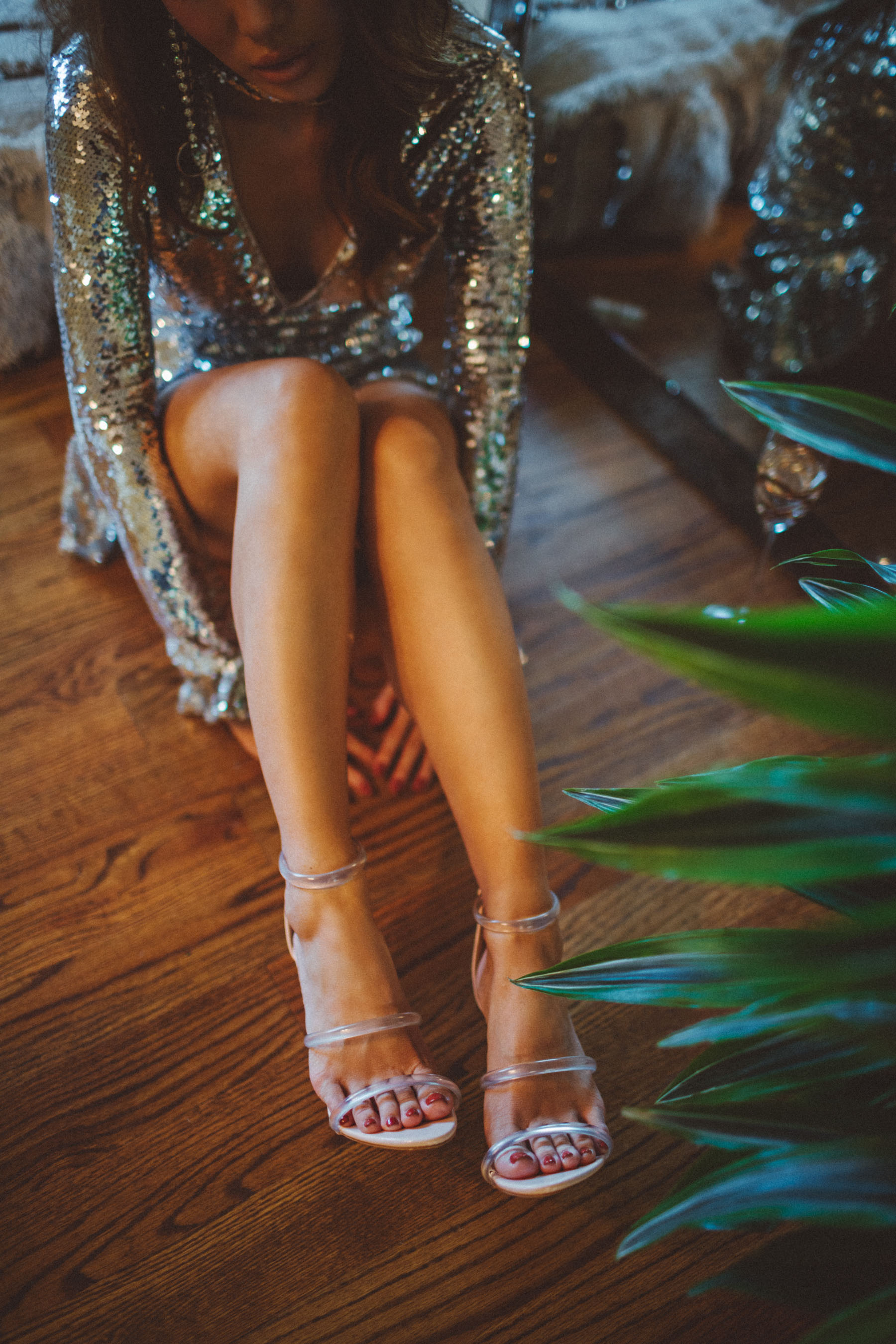 Metallic Must-Have Pieces - Sequin Dress and Clear Sandals // Notjessfashion.com