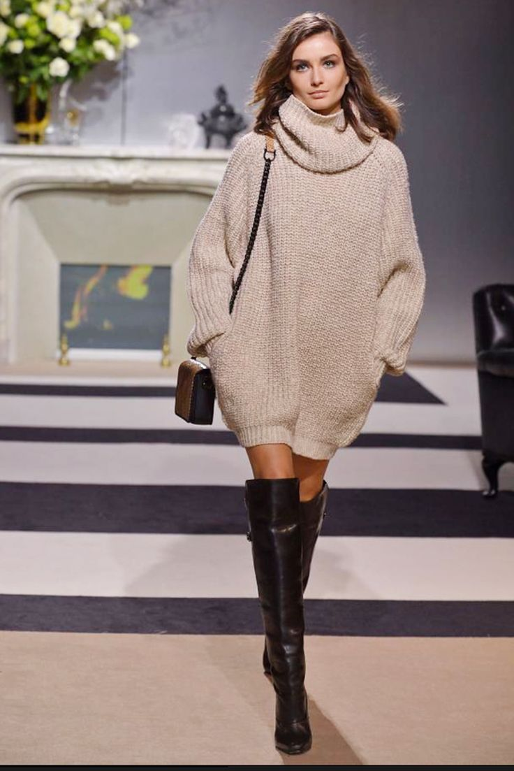 Oversize Sweater Dress with Over the Knee Boots // Notjessfashion.com