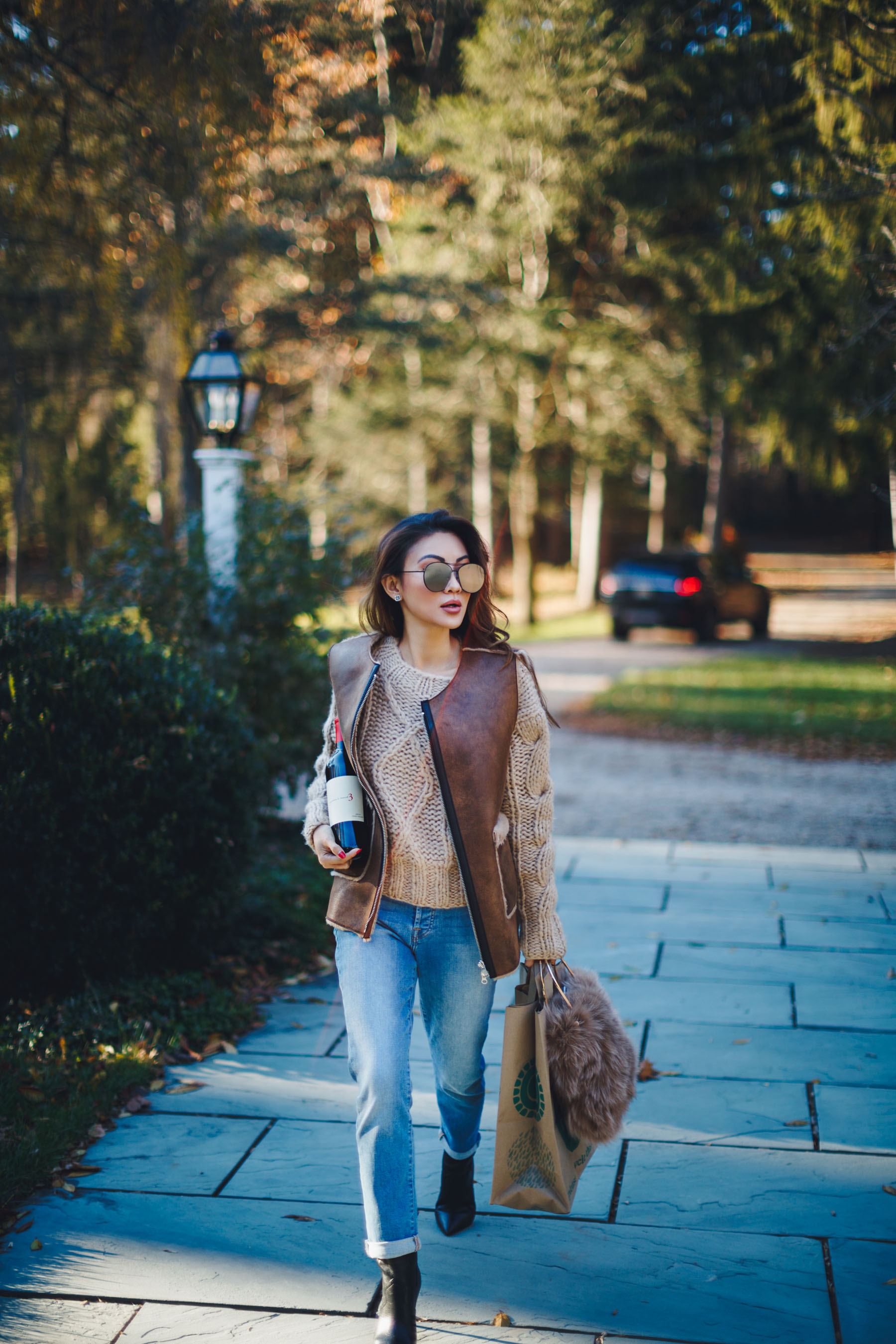 Mirrored Aviator Sunglasses with Tan Sweater and Leather Vest // Notjessfashion.com