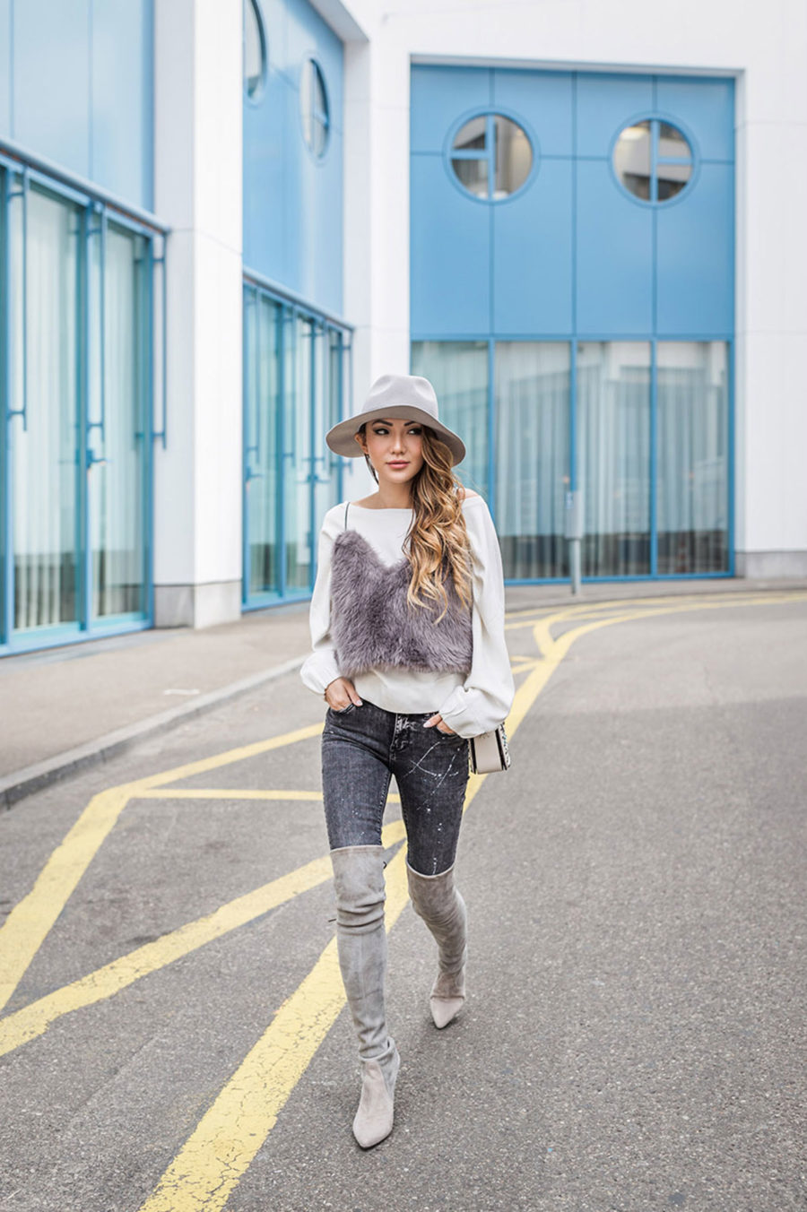 THIGHHIGH BOOTS - Tips for Styling Thigh High Boots - OTK Over the Knee Boots Winter Outfits, gray over the knee boots // NotJessFashion.com