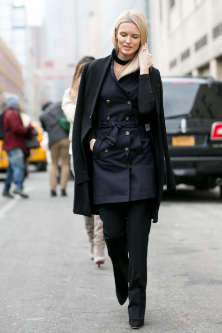 Make Work Wear More Appealing - Navy Trench Coat with Over Coat // Notjessfashion.com