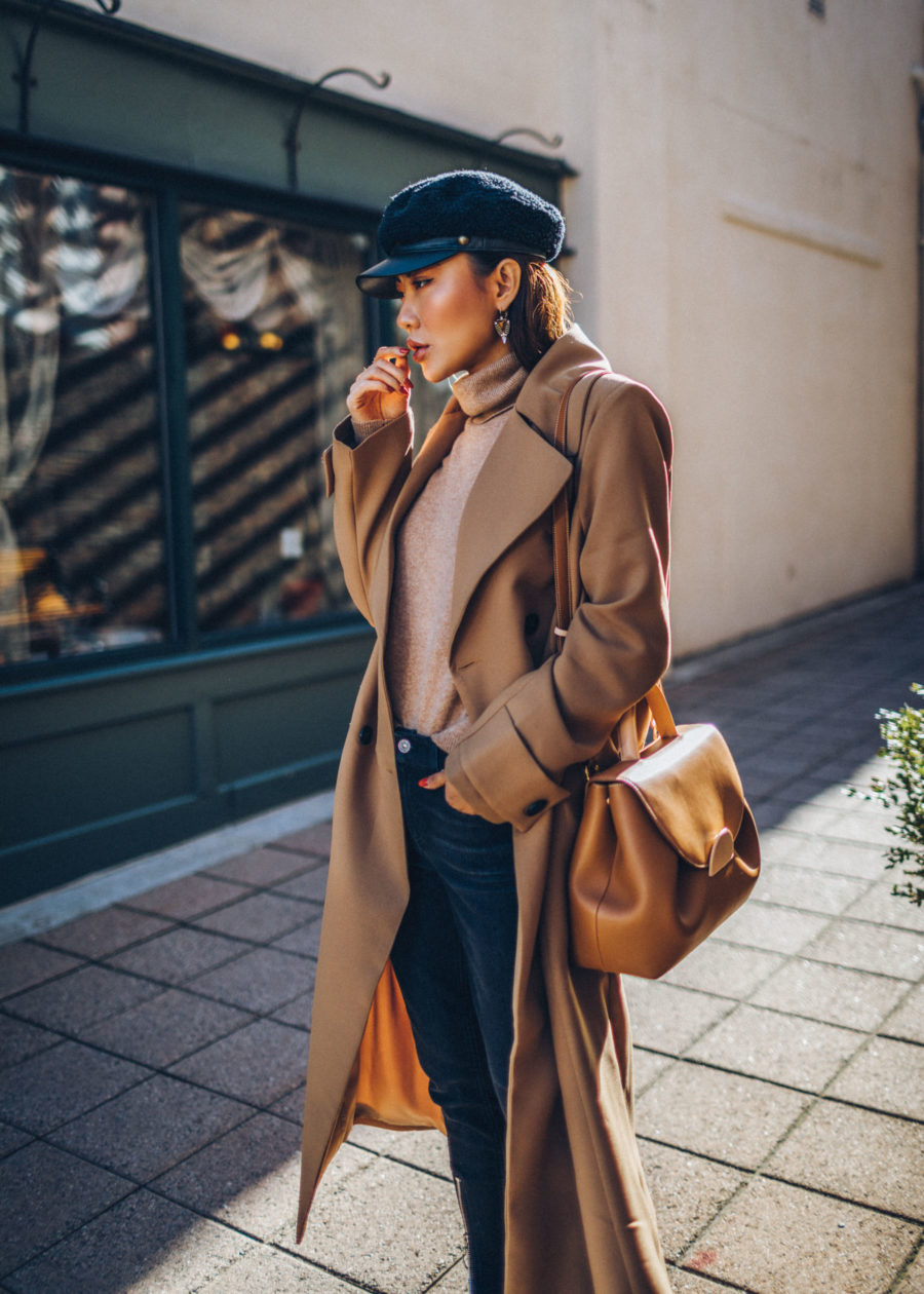 Winter Instagram Outfits - Camel Coat with Tan Turtleneck Sweater and Newsboy Cap // Notjessfashion.com