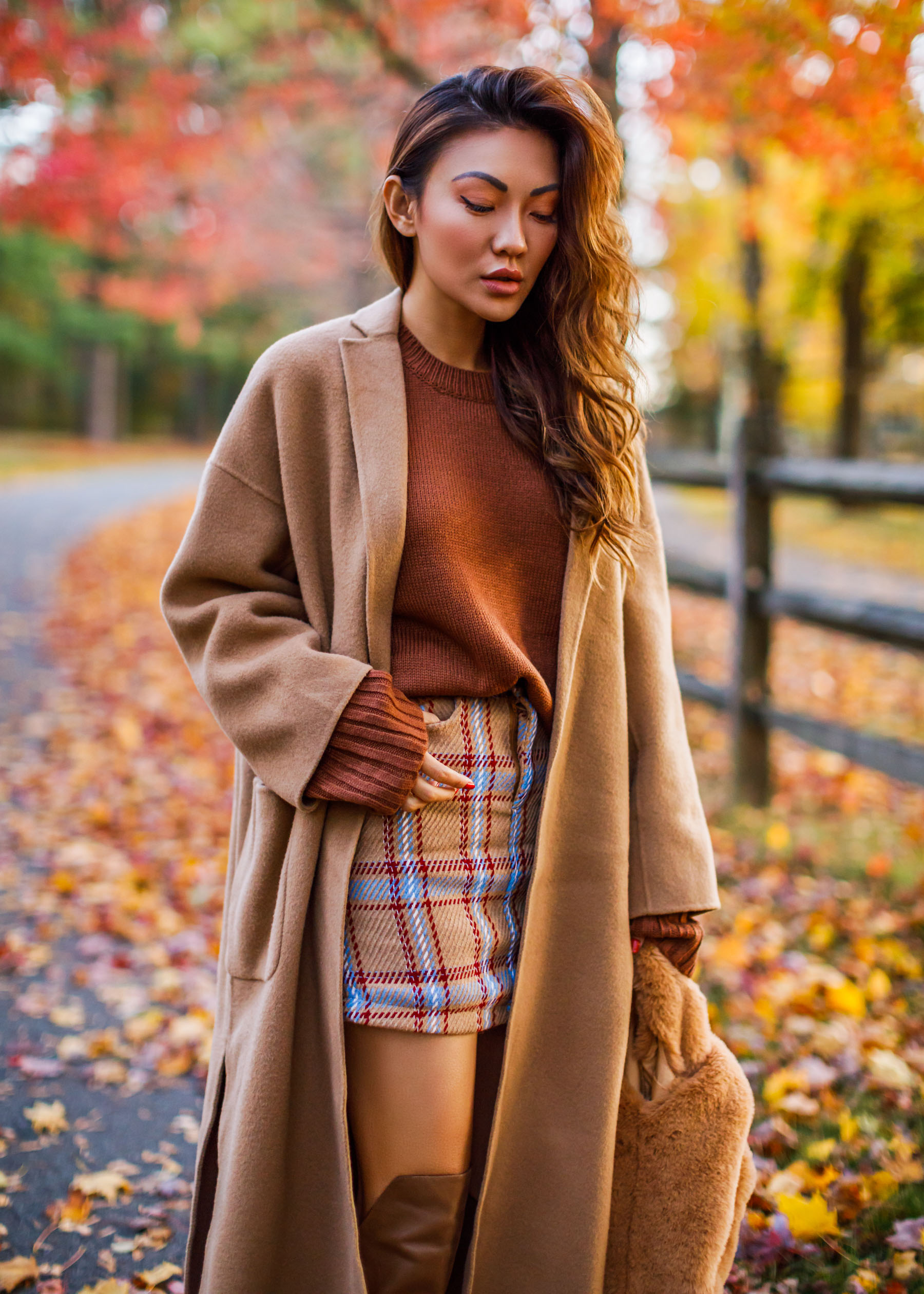 Plaid Mini Skirt with Over the Knee Boots and Camel Coat // Notjessfashion.com