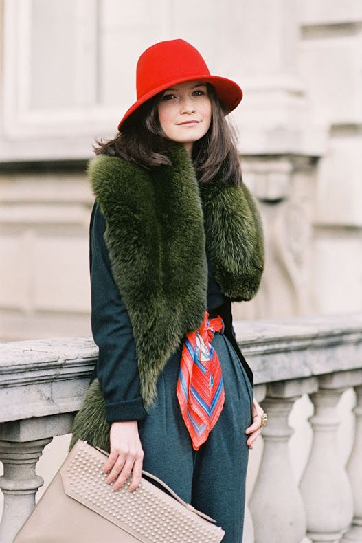 How to add color to your winter wardrobe with green - Green fur stole street style // Notjessfashion.com
