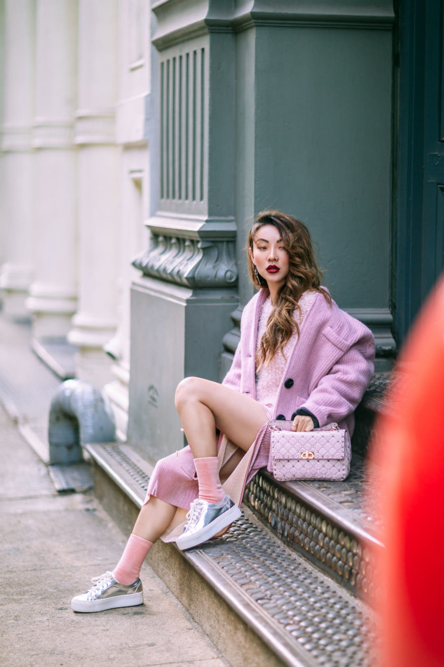 How to Pull Off Springs Trends in the Winter - Pink Monochrome Outfit // Notjessfashion.com // pink blazer, pink fluffy sweater, metallic pink skirt, silver sneakers, metallic shoes, casual pink outfit, pink valentino bag, valentino handbag, fashion blogger, fashion blogger street style, street style fashion, jessica wang, asian blogger, pink socks, edgy style