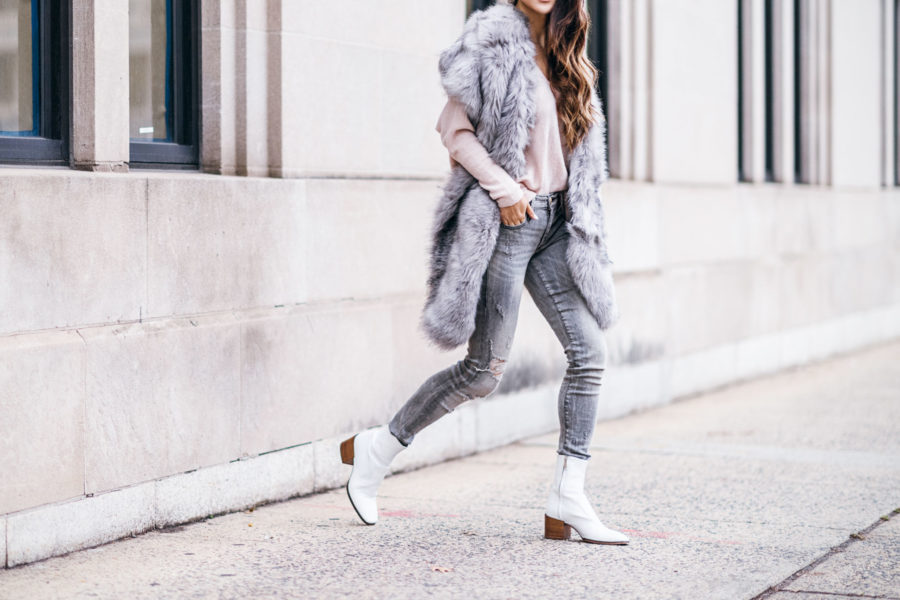 Types of Scarves To Elevate Your Look - Gray Fur Stole with White Booties // Notjessfashion.com // New York fashion blogger, asian blogger, fashion blogger street style, street style fashion, new york street style, winter outfit, cozy winter outfit, layered outfit, winter layers, gray denim, distressed denim, gray denim outfit, cute winter style, jessica wang, fur stole trend, fur stole outfits, white booties, white boot trend