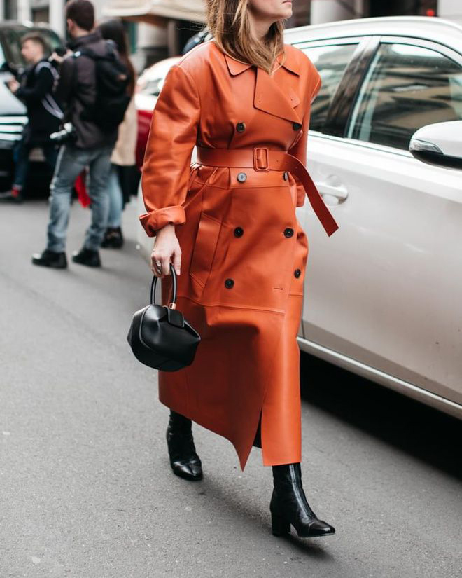 Chic Colorful Coats - Bright Orange Trench Coat Street Style // Notjessfashion.com