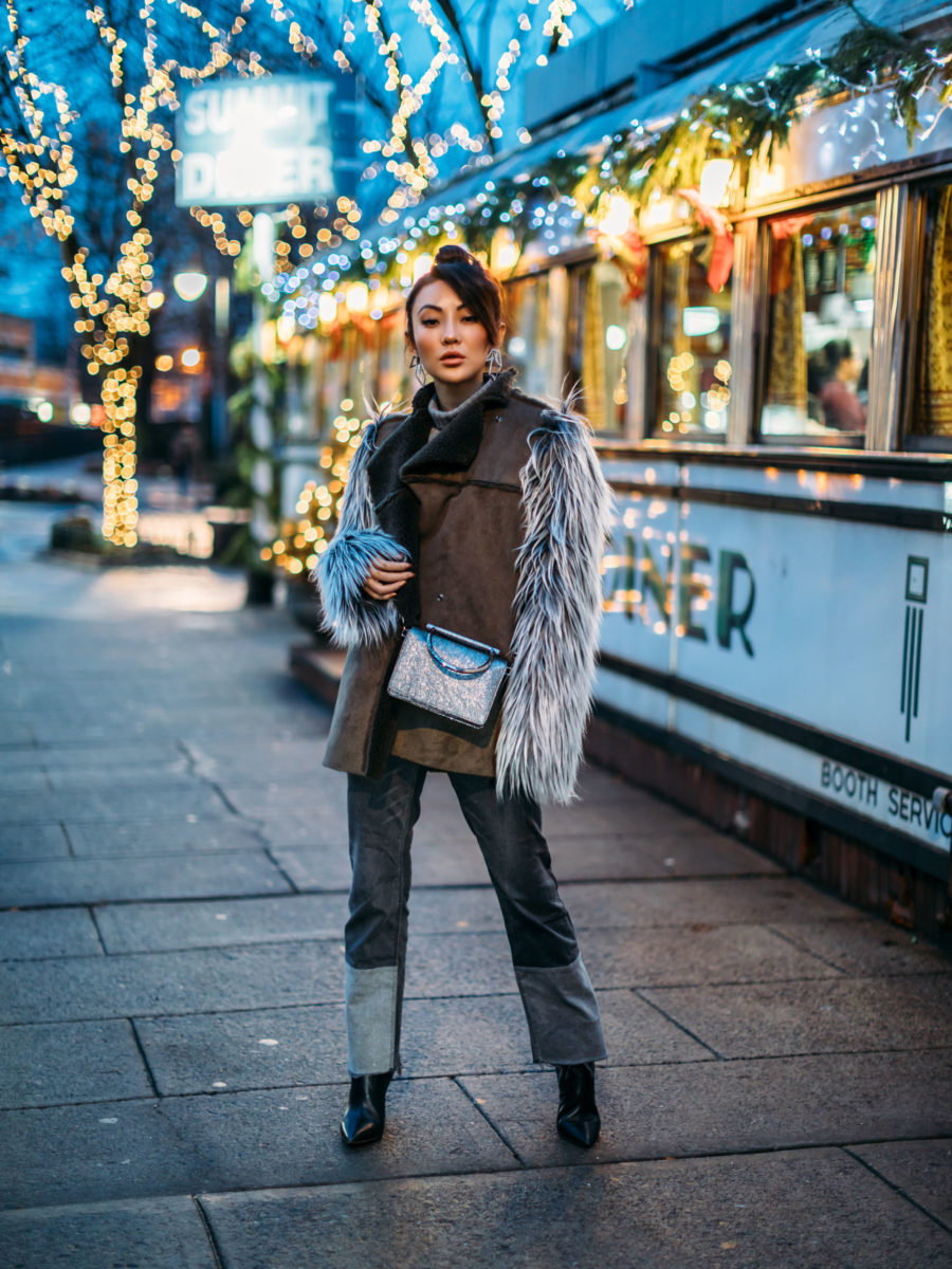 Cozy Layered looks, jessica wang, fashion blogger, new york fashion blogger, street style fashion, ootd, asian blogger, fur coat, suede coat, patchwork denim, glitter handbag, glitter clutch, winter look // Notjessfashion.com