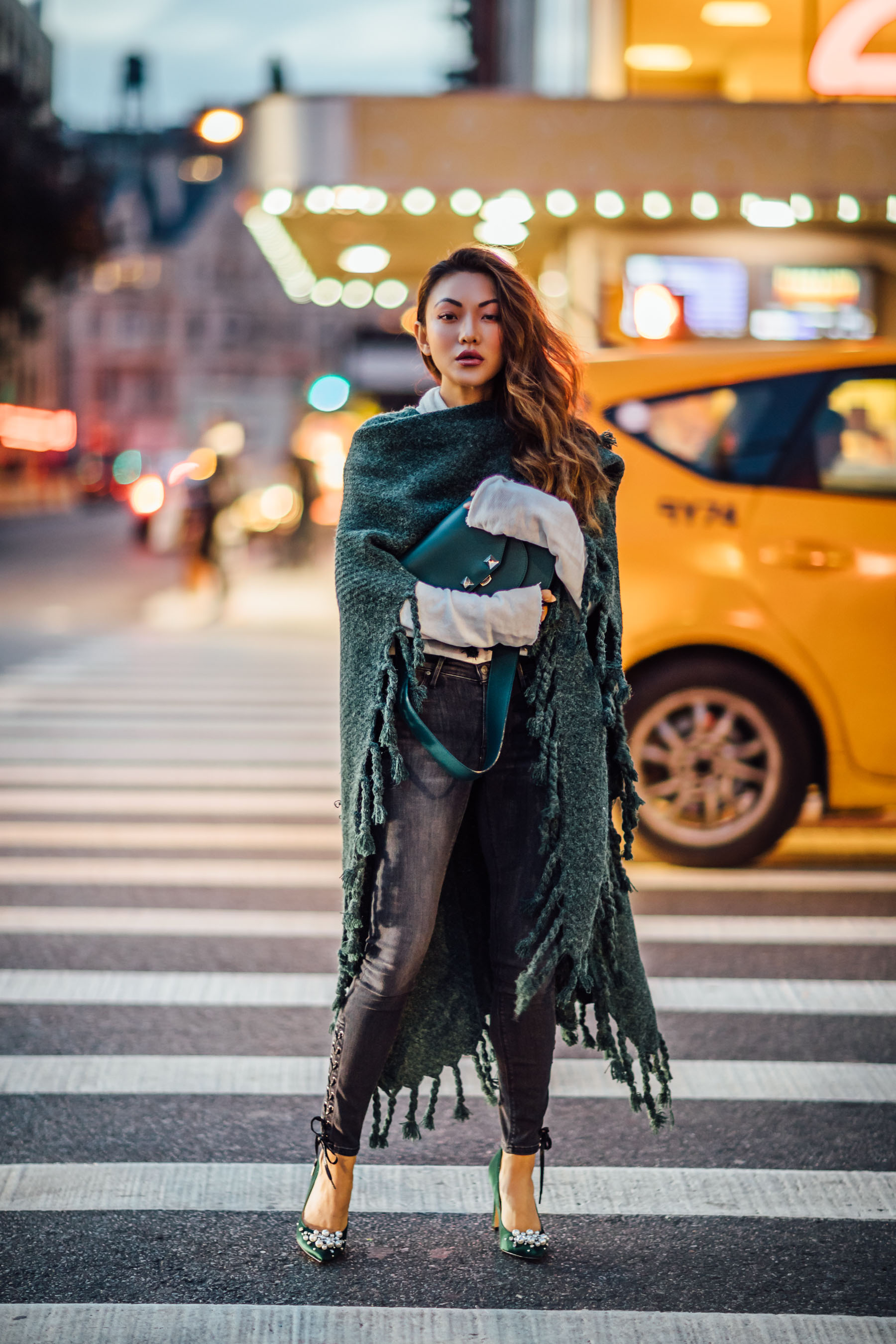 Fashion Details to Elevate Your Favorite Basics - Fringe Kimono, Lace up jeans, embellished pumps // Notjessfashion // Jessica wang, winter outfits, stylish winter outfit, fashion blogger, street style, winter street style, green satin pumps, nine west heels, fringe details, asian blogger, salar bag, green outfits
