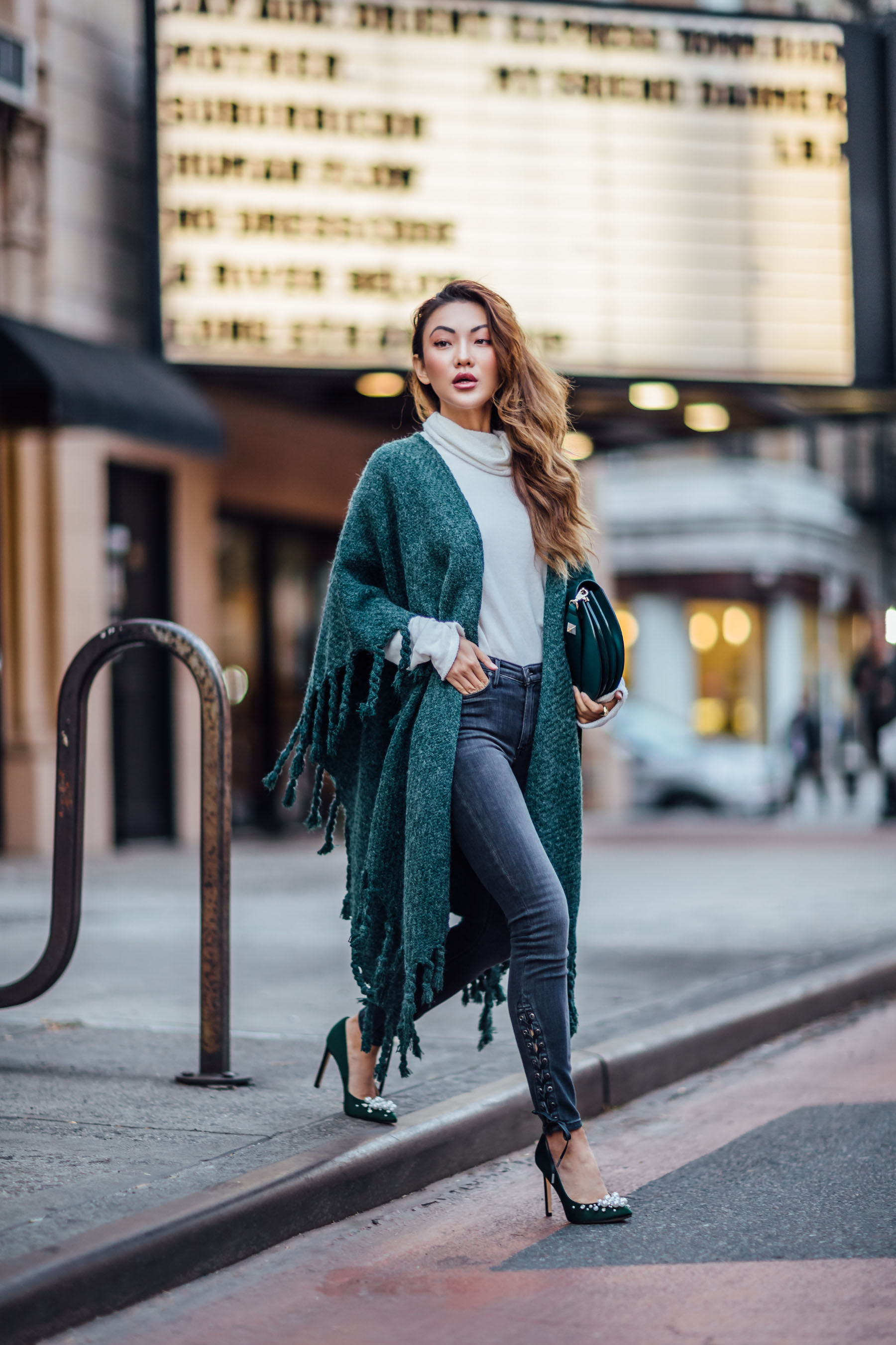 Fashion Details to Step Up Your Winter Look - Fringe Kimono, Lace up jeans, embellished pumps // Notjessfashion // Jessica wang, winter outfits, stylish winter outfit, fashion blogger, street style, winter street style, green satin pumps, nine west heels, fringe details, asian blogger
