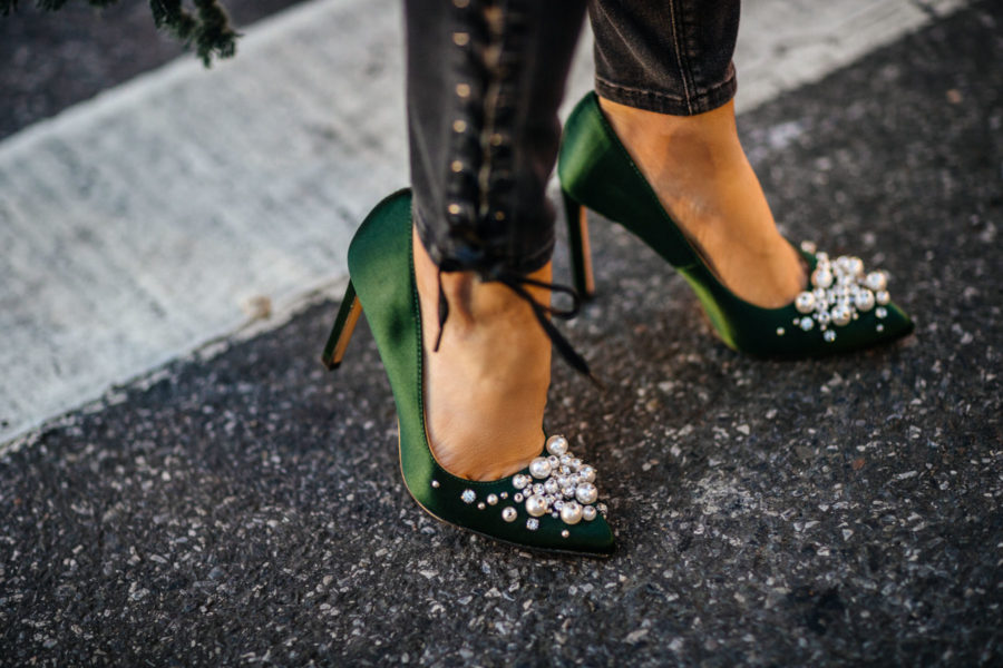 Fashion Details to Step Up Your Winter Look - green satin pumps, satin heels, embellished pumps // Notjessfashion // Jessica wang, winter outfits, stylish winter outfit, fashion blogger, street style, winter street style, green satin pumps, nine west heels, fringe details, asian blogger, salar bag, green outfits, shoe trends