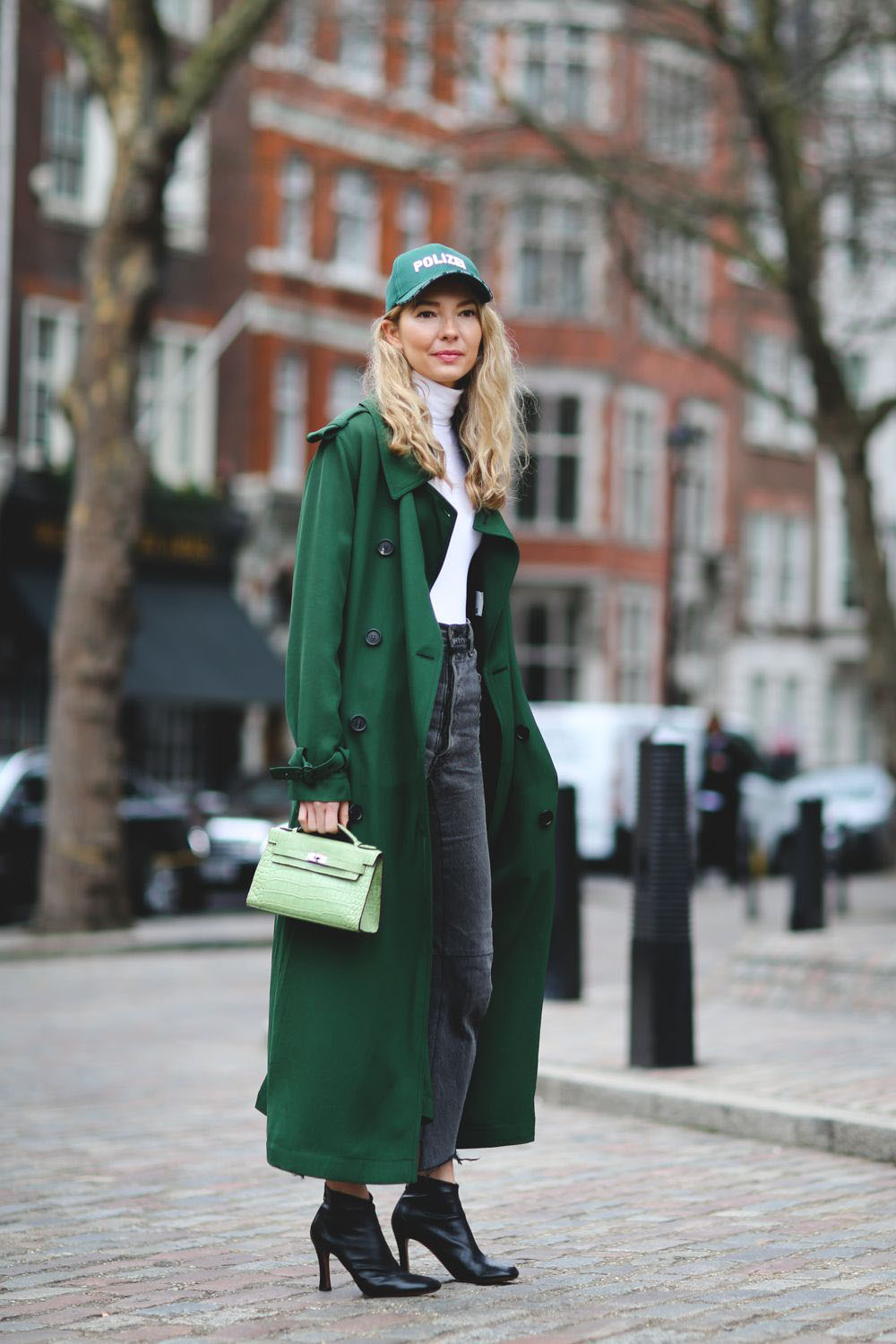 Chic Colorful Coats - Roberta Benteler in a Green Duster Coat // Notjessfashion.com