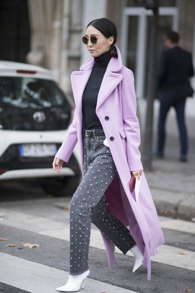 How to Wear Lavender Before Spring // Notjessfashion.com // Lavender coat, pearl embellished jeans, fall fashion, winter fashion, black and lavender outfit, asian blogger, fashion blogger, new york fashion blogger, how to wear lavender, lavender outfits, fashion blogger street style, cozy outfit, casual fall outfit