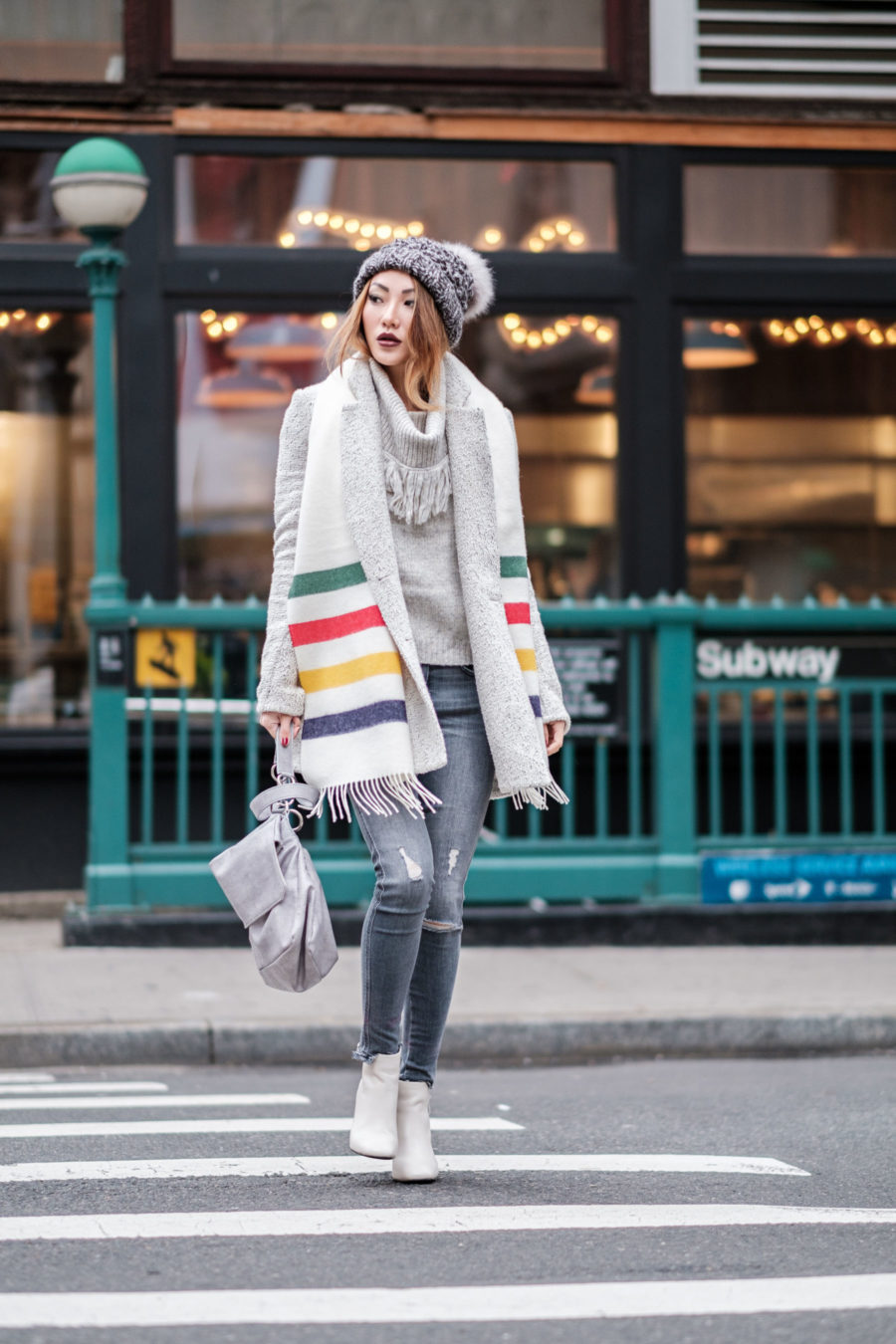 Outdated Fashion Rules You Should Break, nyc winter style, white boots, stripe scarf // Notjessfashion.com