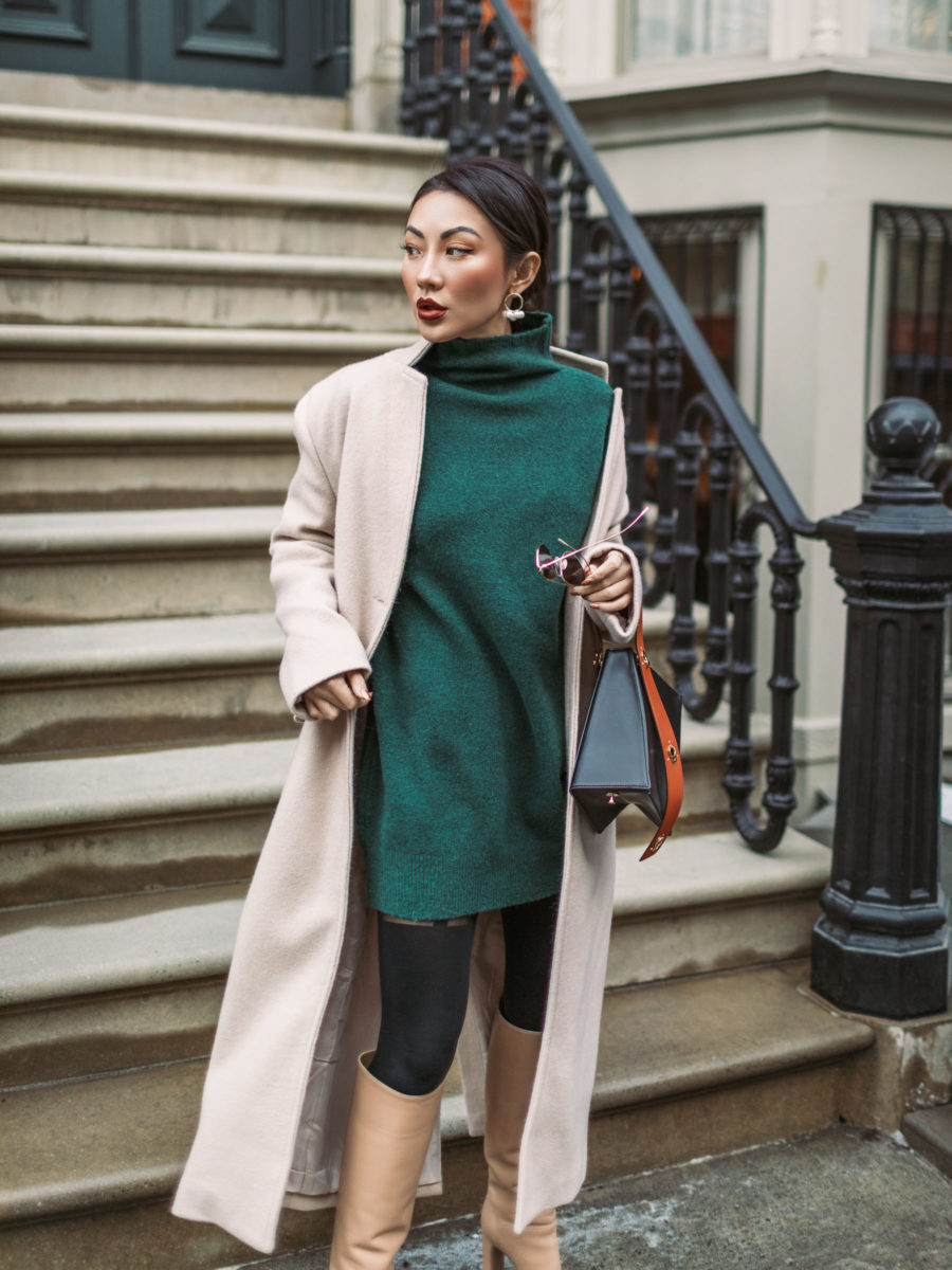 Winter Layering Basics // Leggings, Sweater Dress, Maxi Coat // Notjessfashion.com // Winter layers outfit, how to layer in the winter, new york fashion blogger, top blogger, asian blogger, fashion blogger winter looks, cozy winter outfit
