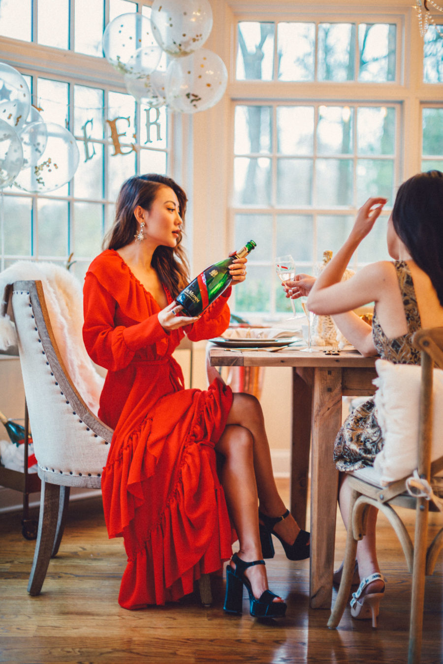 fashion blogger jessica wang features her favorite holiday party shoes featuring laurence dacade velvet green platform sandals // Notjessfashion.com