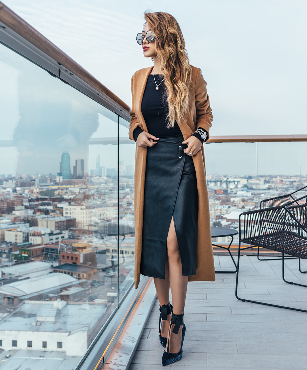 Holy Grail Coat Everyone Must Own - Camel Robe Coat with Leather Skirt // Notjessfashion.com
