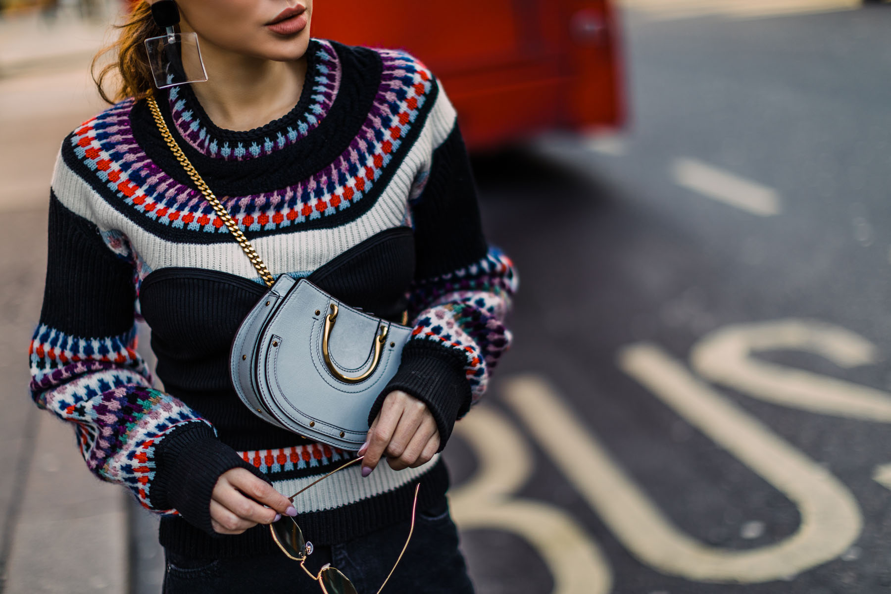 London Fashion Week Highlights - Burberry Sweater, Chloe Bag, and Sneakers, LFW Street Style, London Fashion Week Outfits // Notjessfashion.com