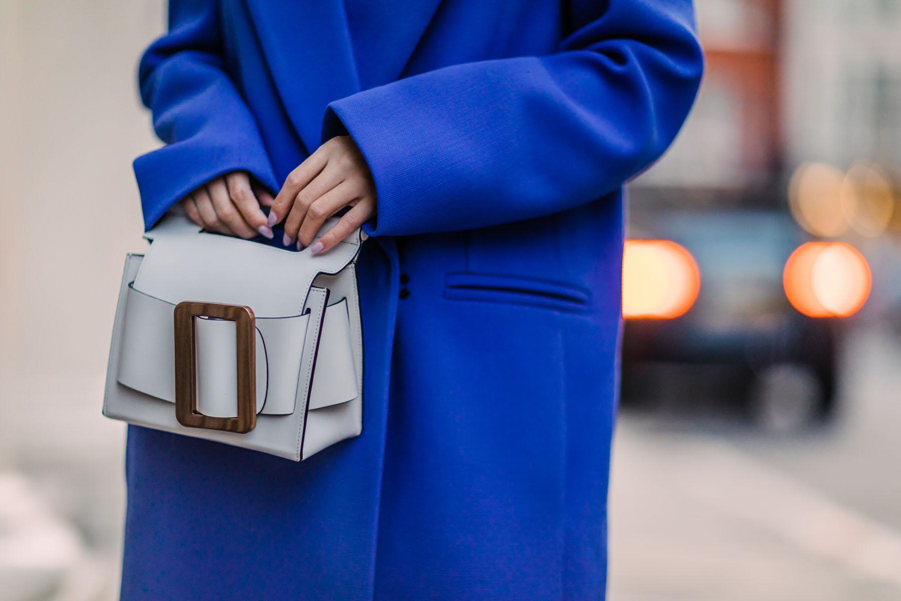 London Fashion Week Recap 2 - blue coat, white boots, purple pants, bold colors outfit, white accessories, white handbag // Notjessfashion.com