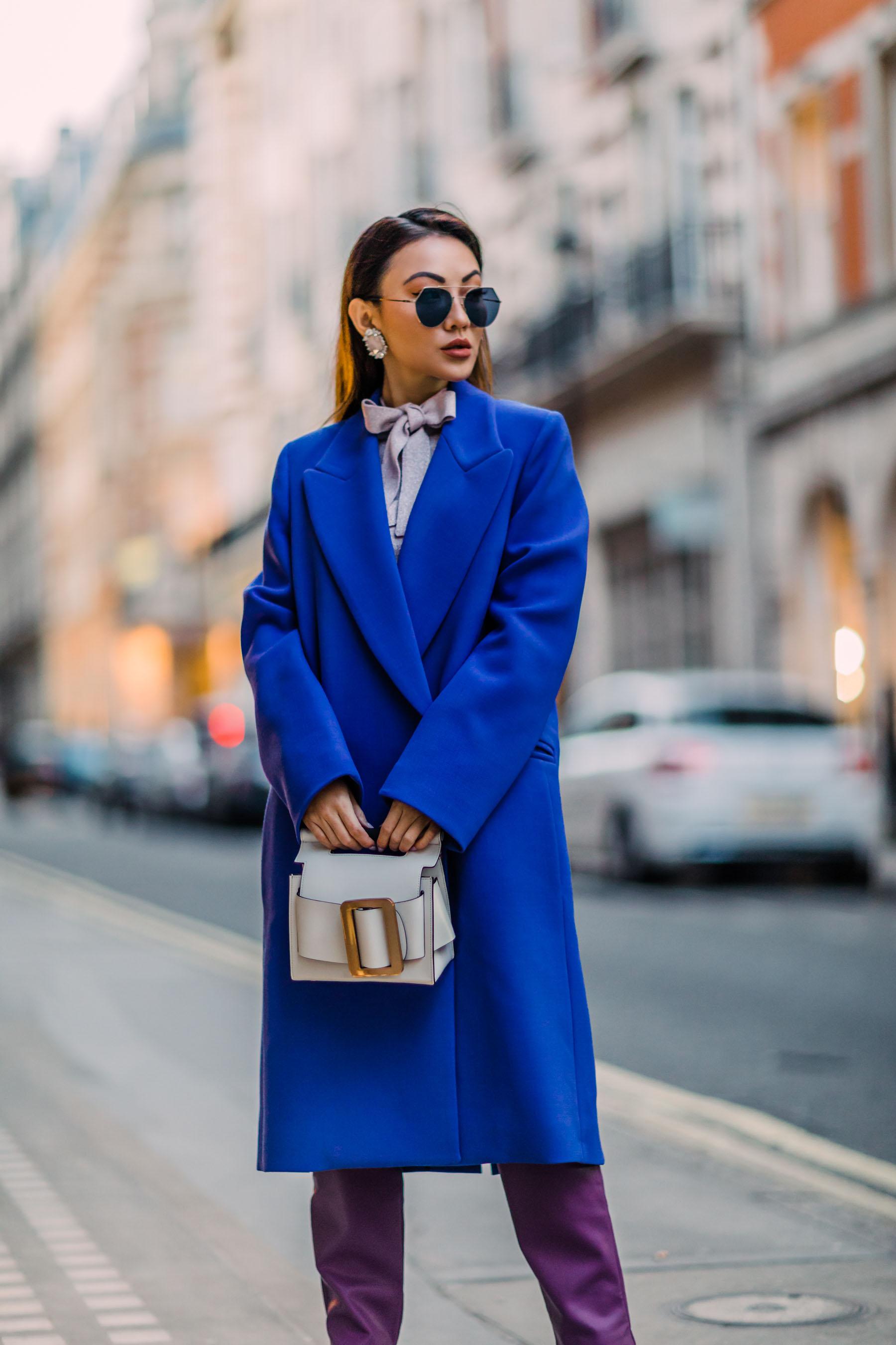 London Fashion Week Recap 2 - blue coat, white boots, purple pants, bold colors outfit // Notjessfashion.com