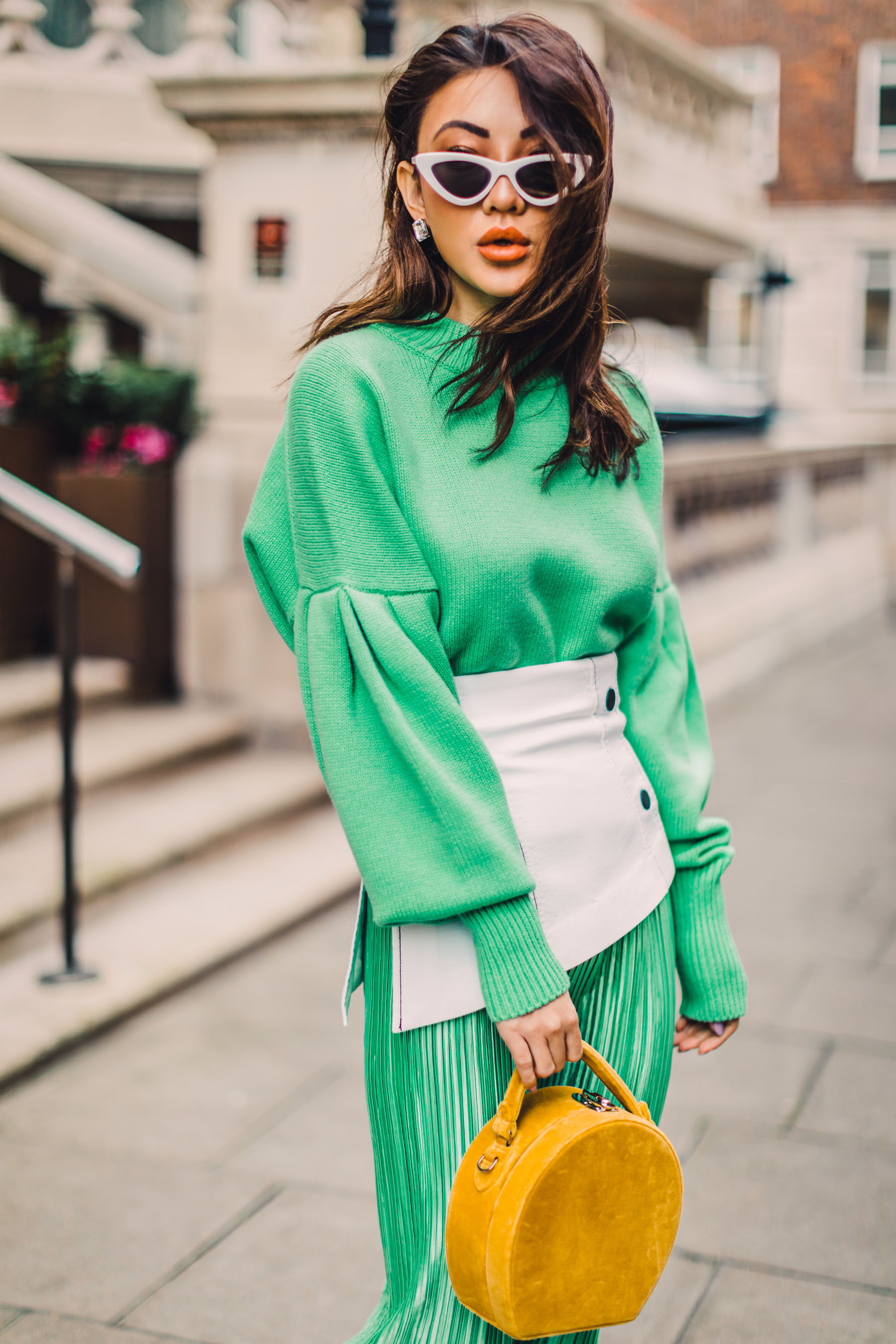 London Fashion Week Recap - green pleated dress, white corset belt, yellow handbag, white attico pumps // Notjessfashion.com