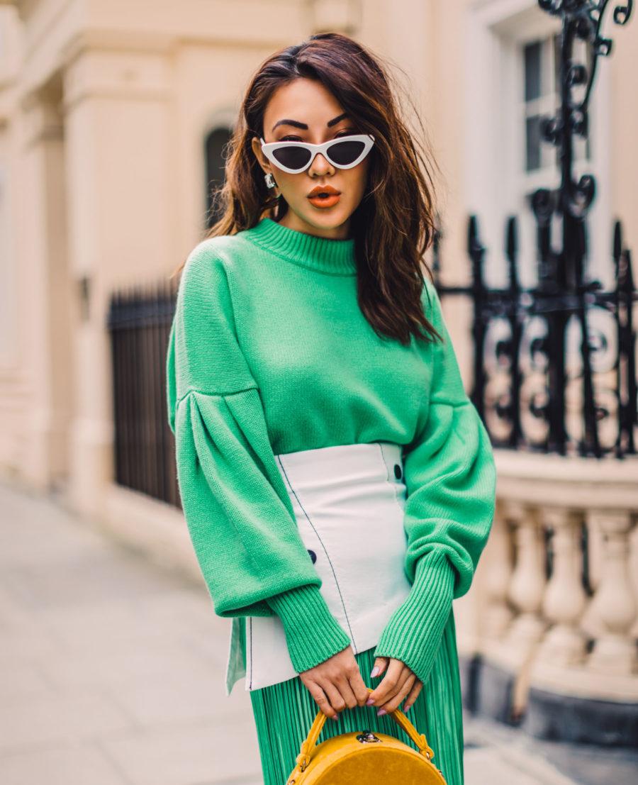 5 Must-Have Sunglasses Every It-Girl Is Wearing Now - Unique Shape Sunglasses, Retro Sunglasses, Green Monochromatic Style, Gold Velvet Handbag, Green Pleated Skirt, Streetstyle, Jessica Wang // NotJessFashion.com