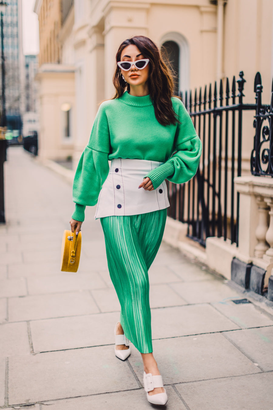 Shopbop Sale Alert - The Best Spring and Summer Items To Buy, Yellow Mini Handbag, Green Dress for Spring, White Pointed Pumps, Streetstyle, Green Pleated Dress, Jessica Wang // NotJessFashion.com