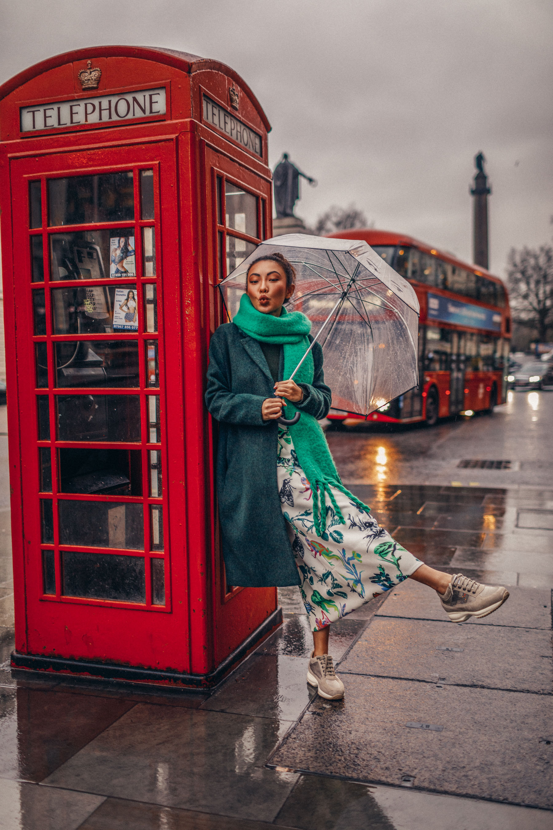 green floral skirt, green coat, dad sneakers // Notjessfashion.com