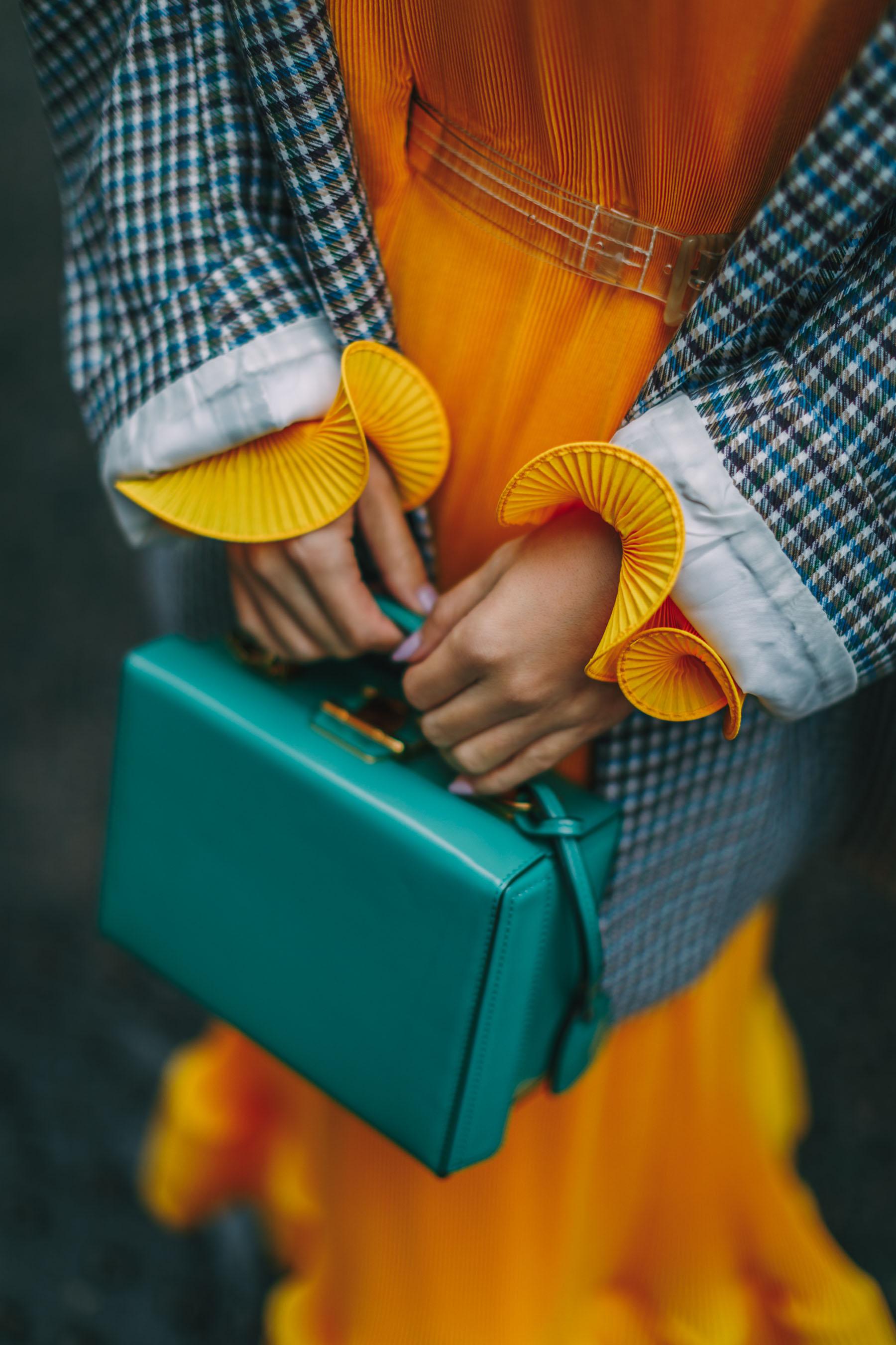 LFW Recap - Yellow pleated maxi dress, plaid blazer, lfw street style // Notjessfashion.com