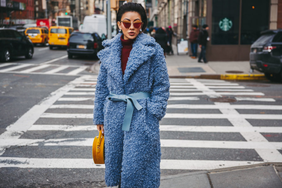 NYFW 2018 Street Style - Loeil Blue Teddy Coat // Notjessfashion.com