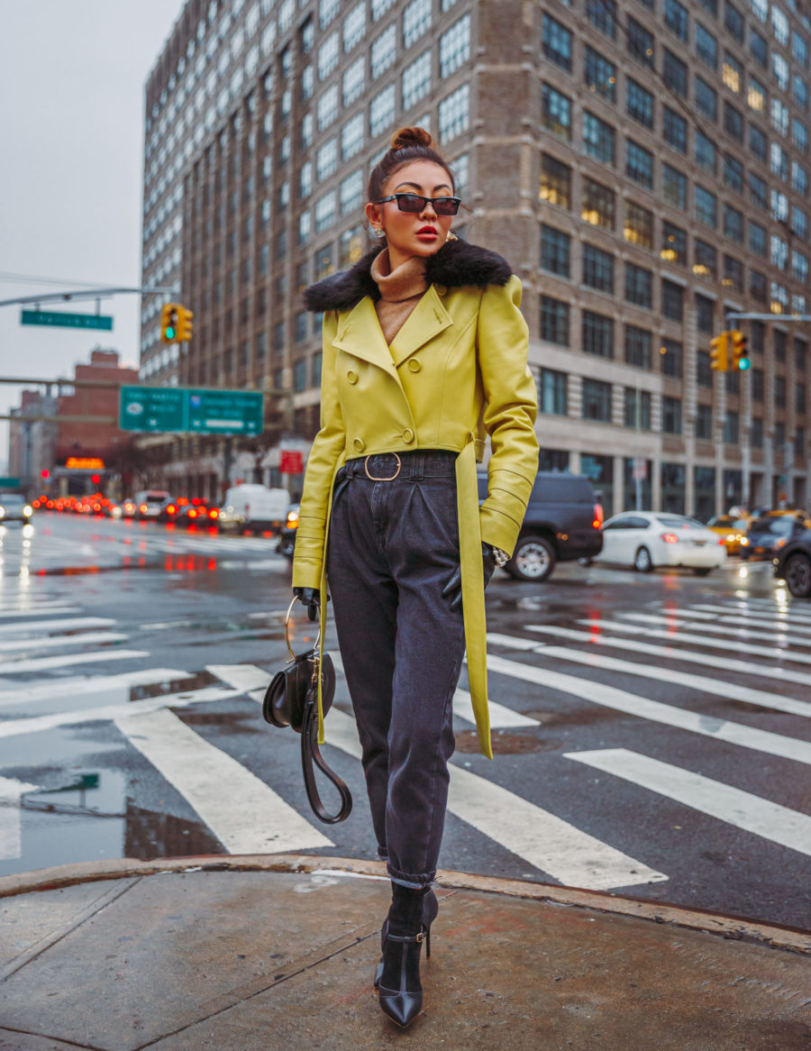 Yellow Leather Jacket Night Out Look // NotJessFashion.com
