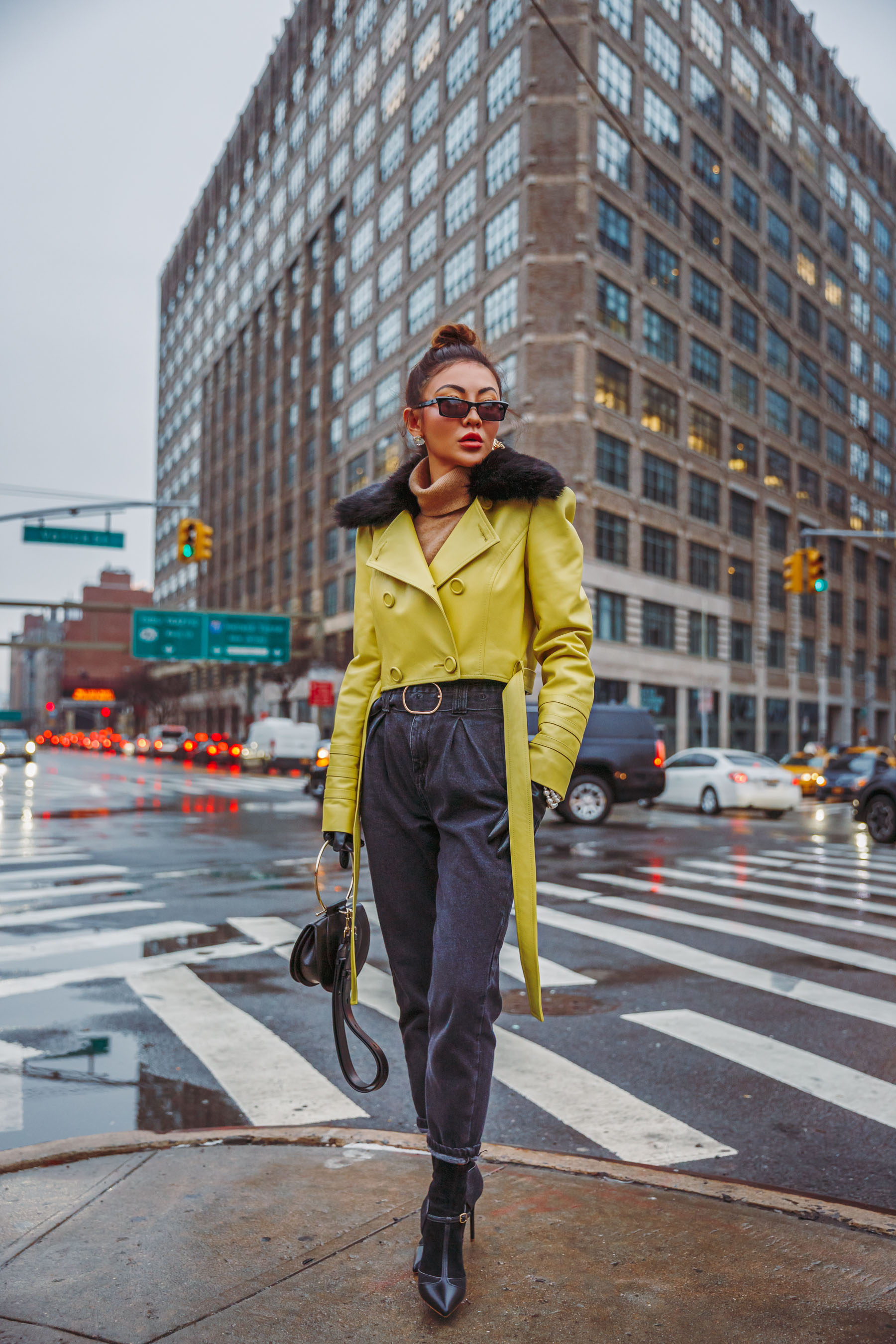 NYFW street style - Yellow Leather Jacket, Ferragamo Handbag // Notjessfashion.com