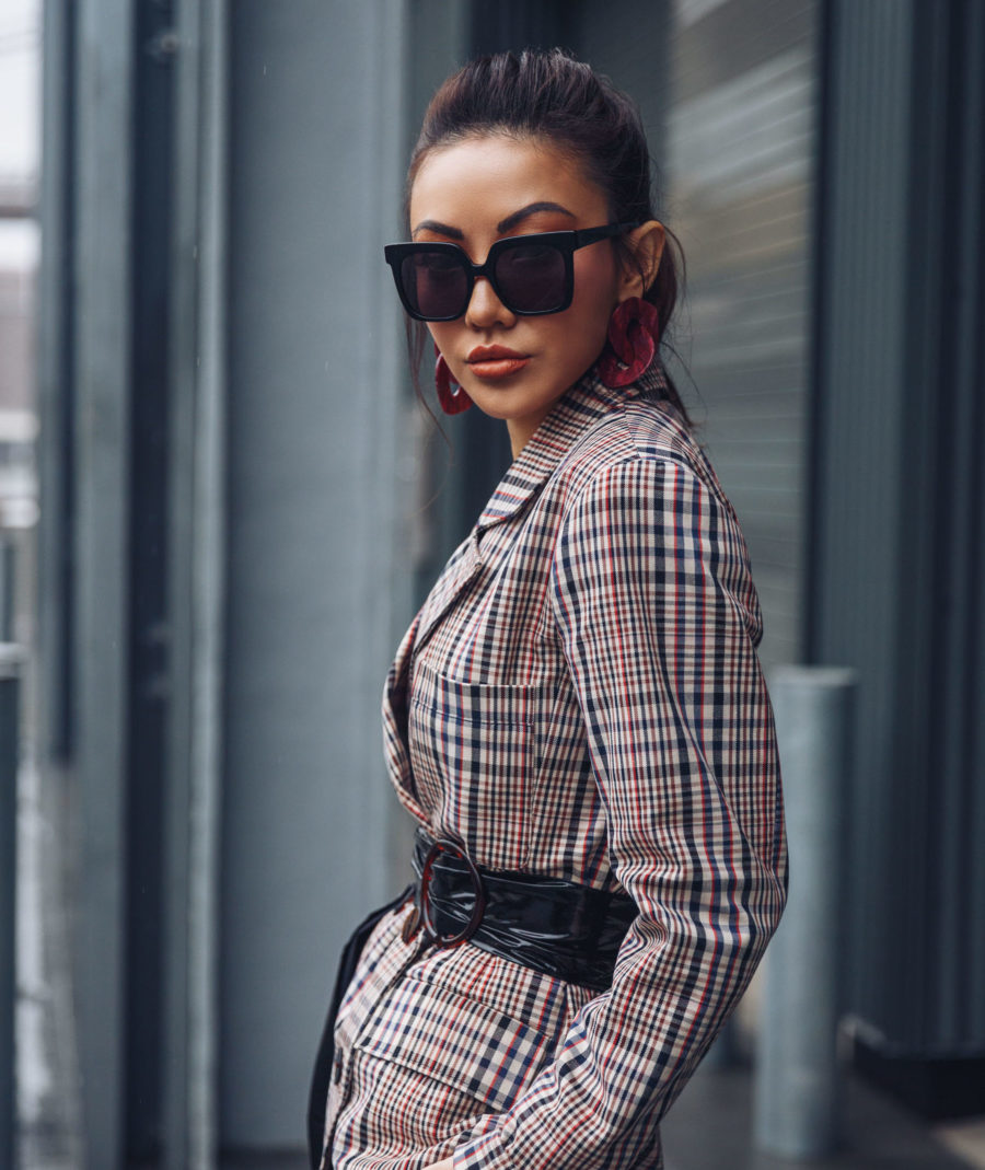 5 Must-Have Sunglasses Every It-Girl Is Wearing Now - Oversized Sunglasses, How To Wear Plaid, Plaid Suit, Co-ords for Spring, Street Style, Jessica Wang // NotJessFashion.com