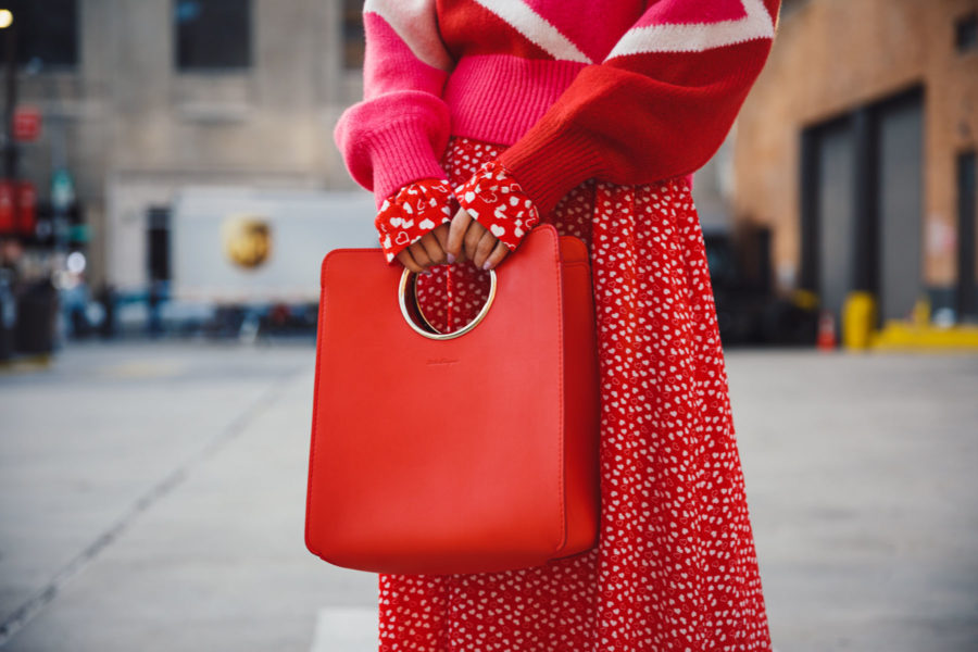 winter wardrobe essentials - red structured handbag // NotJessFashion.com