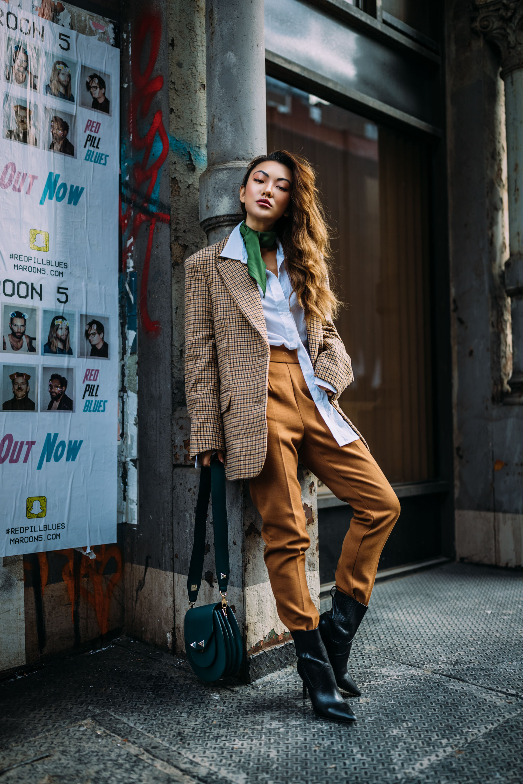 4 Key Pieces to Pull Off Menswear-Inspired Outfits // Notjessfashion.com // NYC fashion blogger, top fashion blogger, asian blogger, oversized blazer, plaid blazer, menswear inspired fashion, jessica wang, green accessories, street style fashion