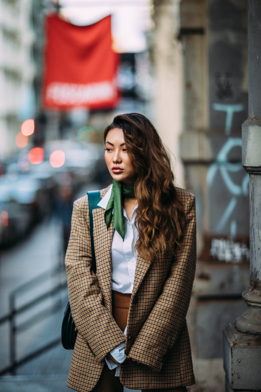 5 Ways to Pull Off Menswear-Inspired Outfits // Notjessfashion.com // NYC fashion blogger, top fashion blogger, asian blogger, oversized blazer, plaid blazer, menswear inspired fashion, jessica wang, green accessories